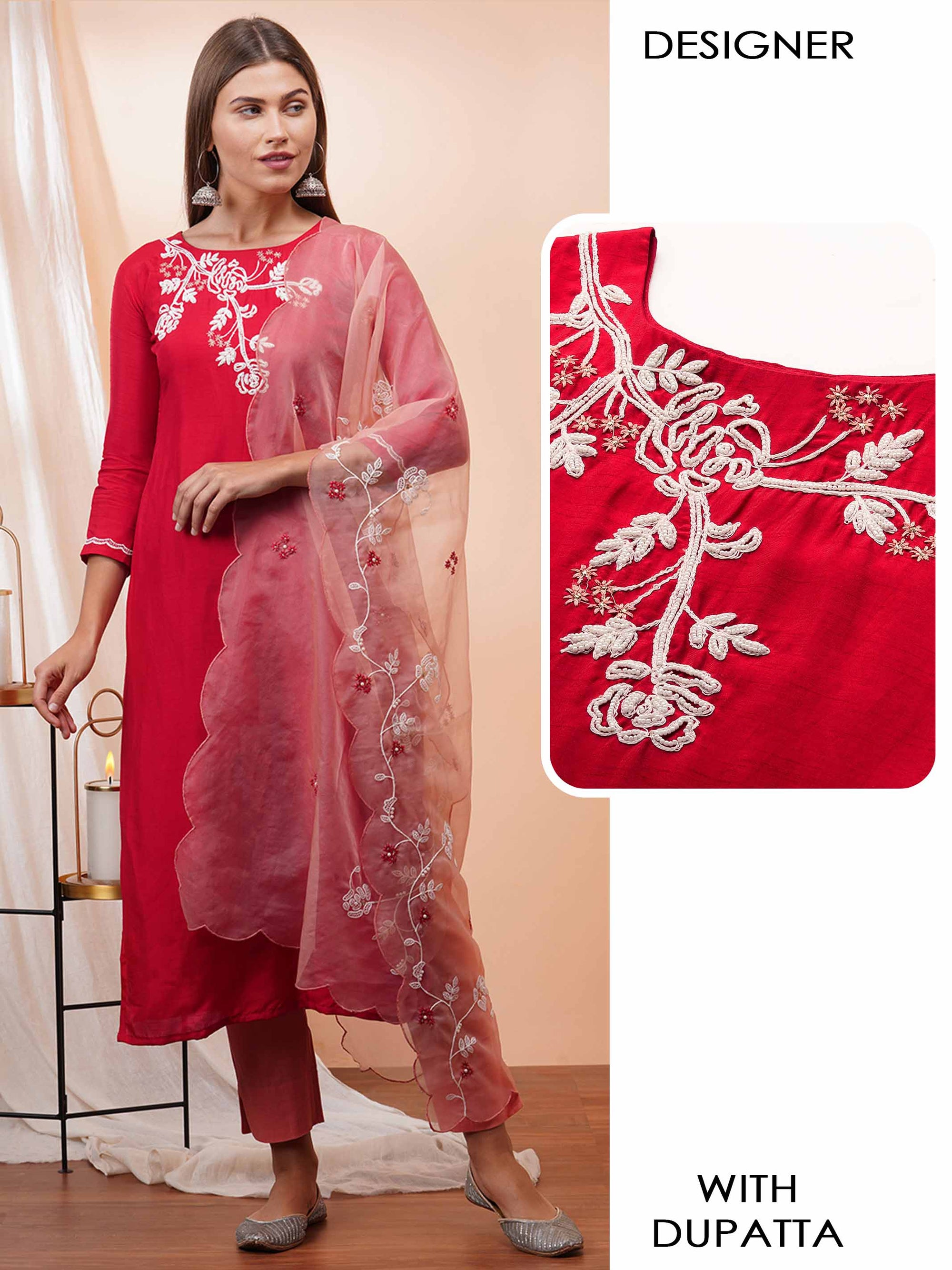 Floral Embroidered Straight Kurta with Embroidered Scallop Dupatta - Cherry Red