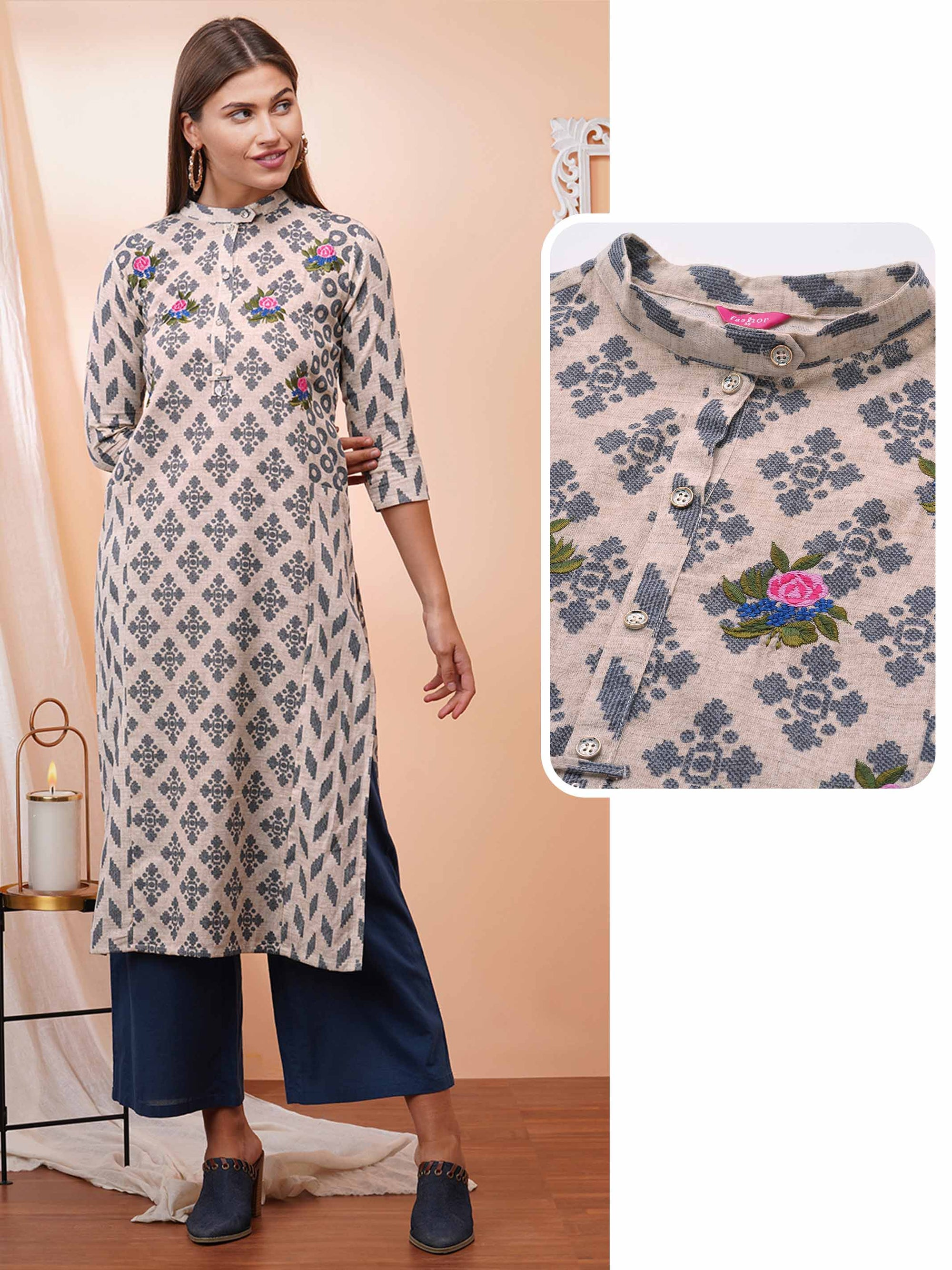 Mix Printed & Floral Embroidered Paneled Straight Kurta – Beige