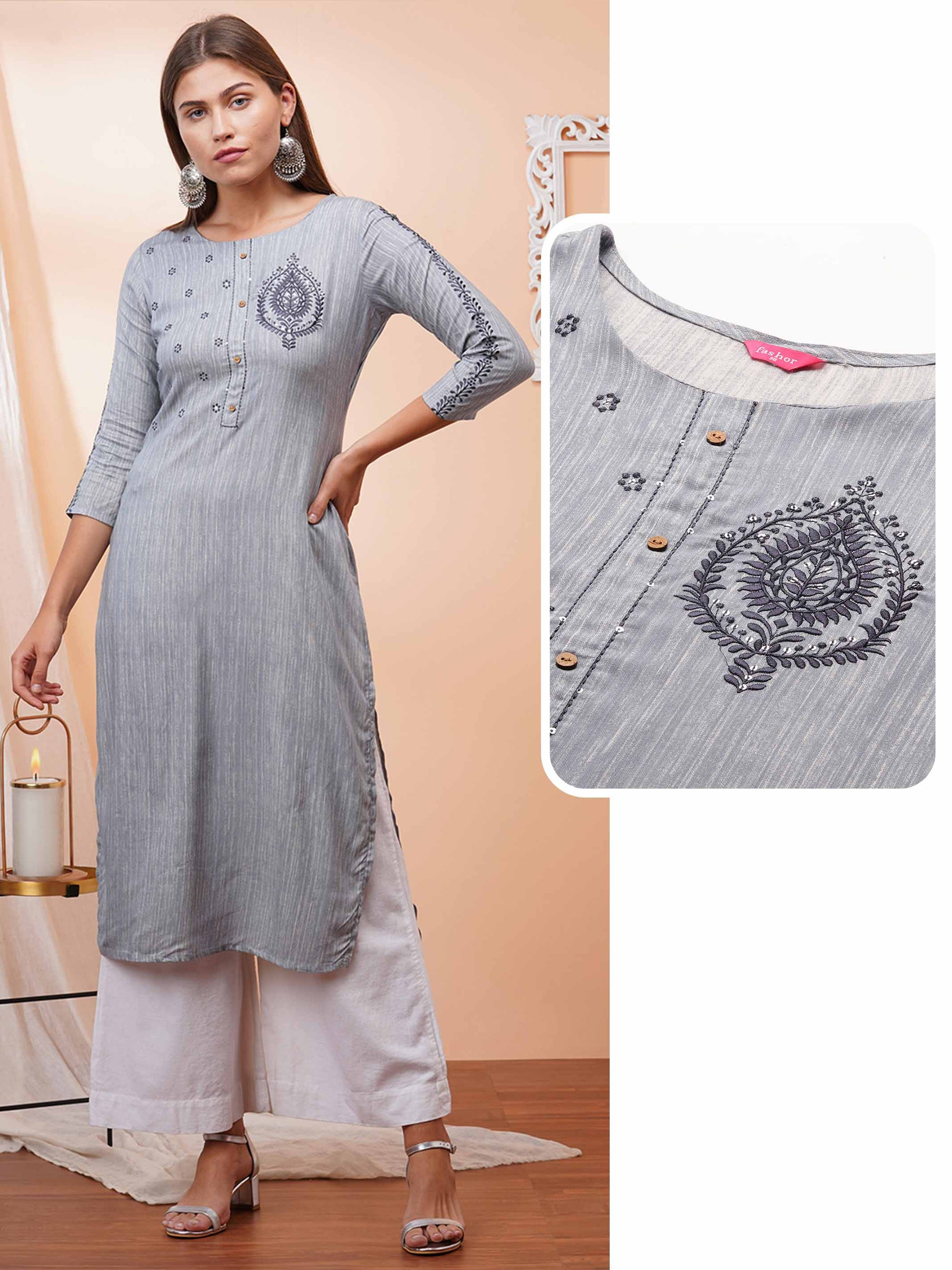Floral Embroidered Straight Kurta – Grey
