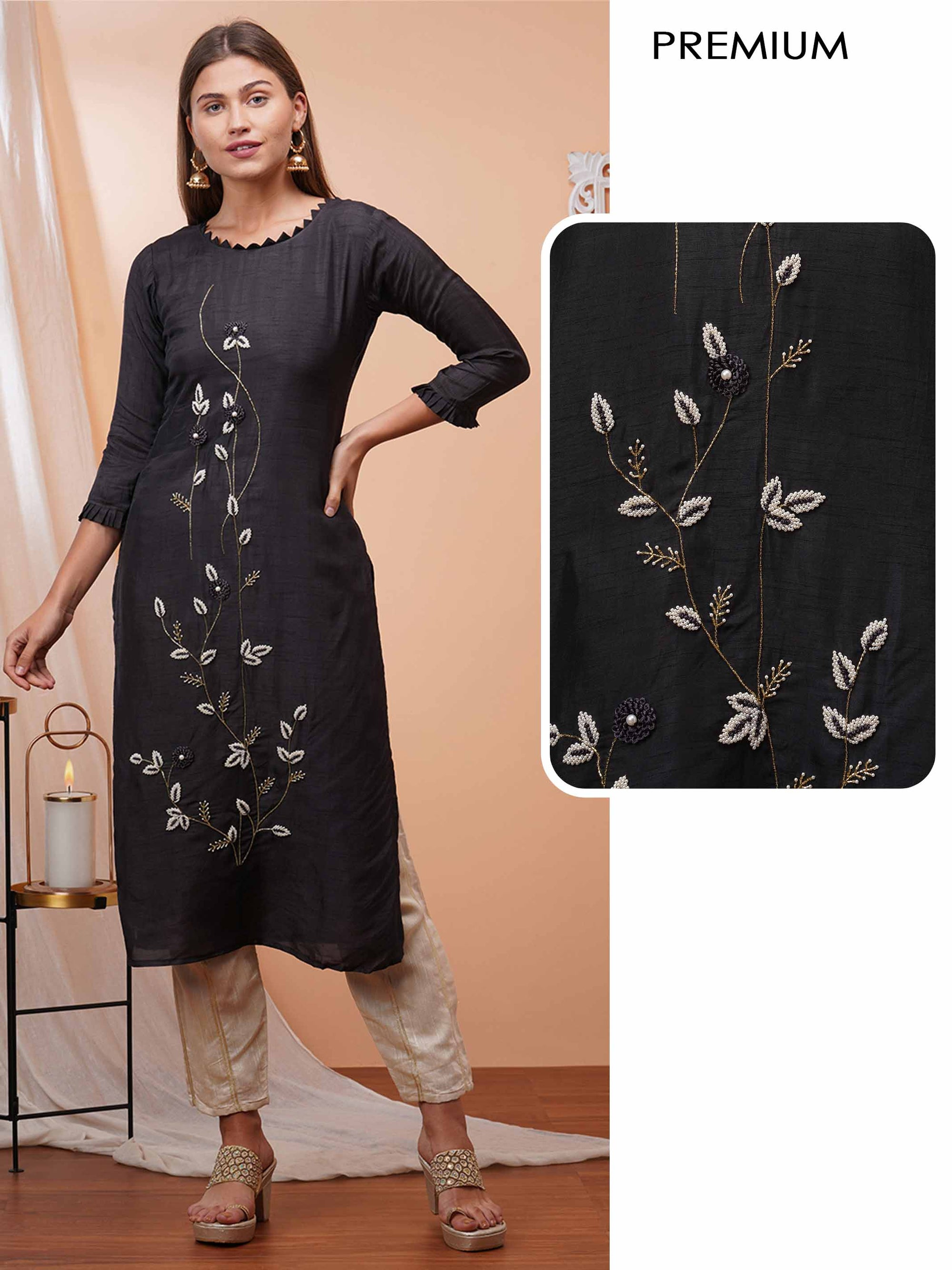 Floral Embellished Straight kurta - Black