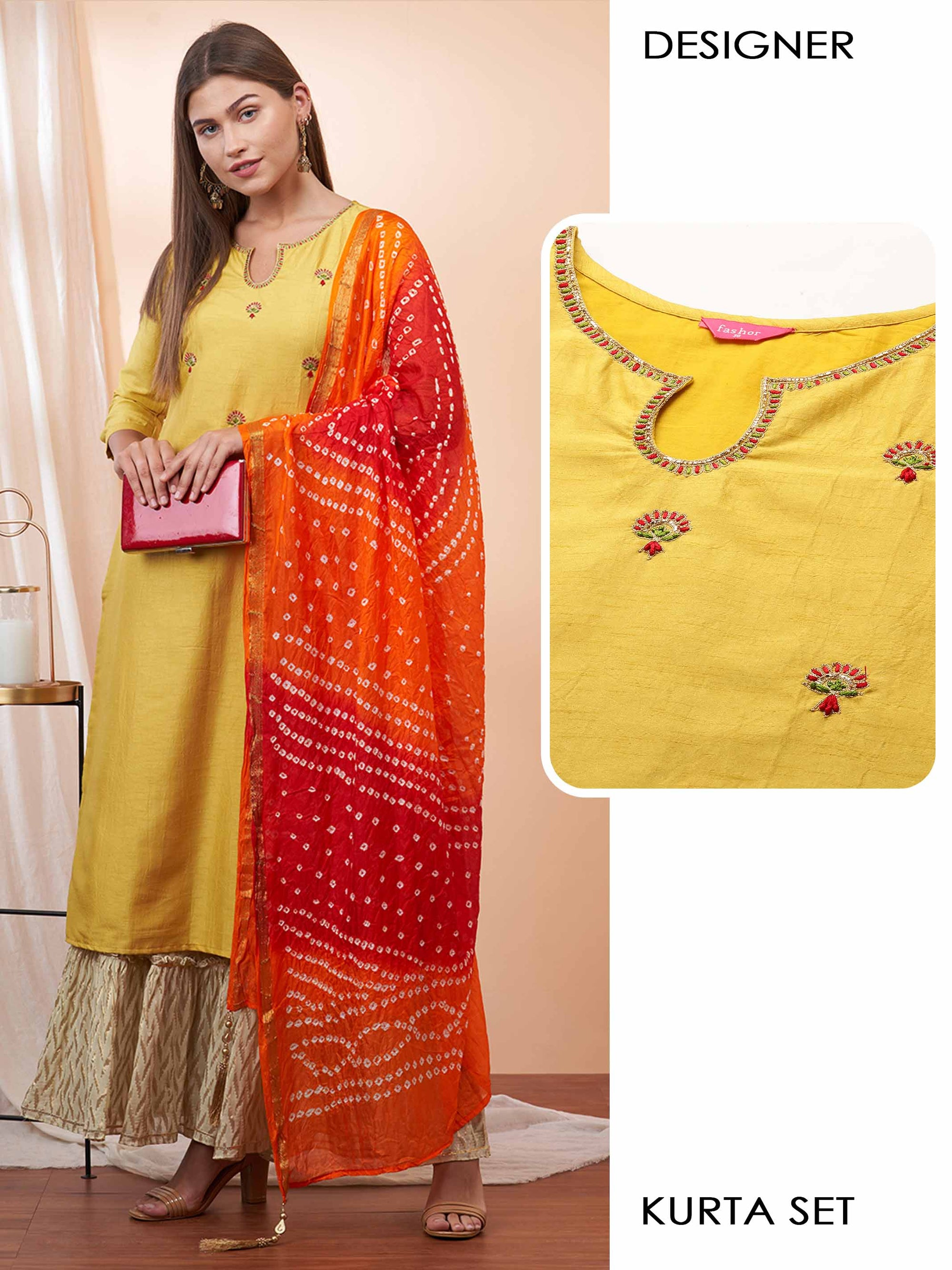 Ethnic Embroidered Straight Kurta with Zari Woven Sharara & Bandhani Printed Dupatta - Mustard