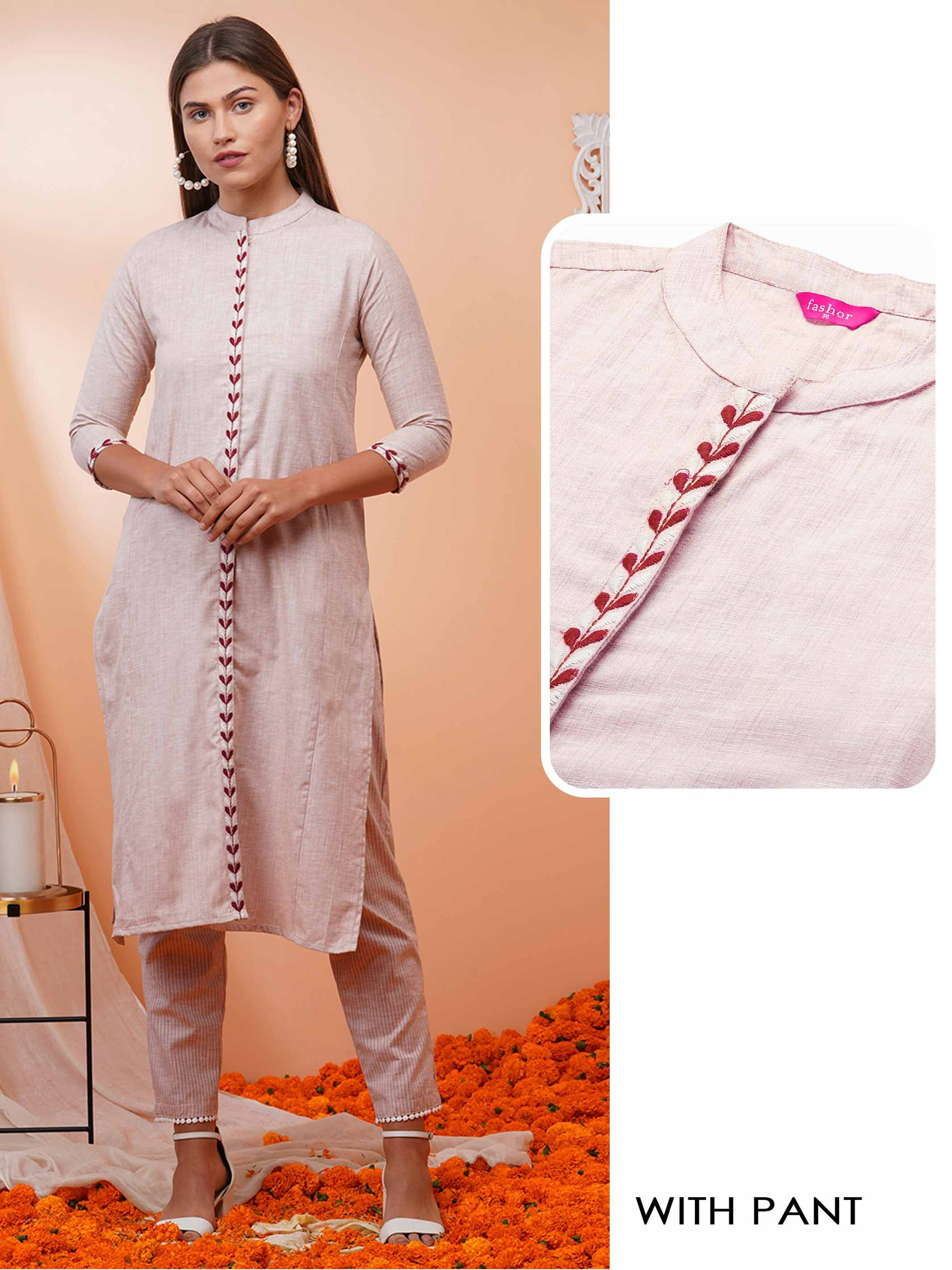 Minimal Embroidered Straight Kurta with Woven Striped Pant – Beige