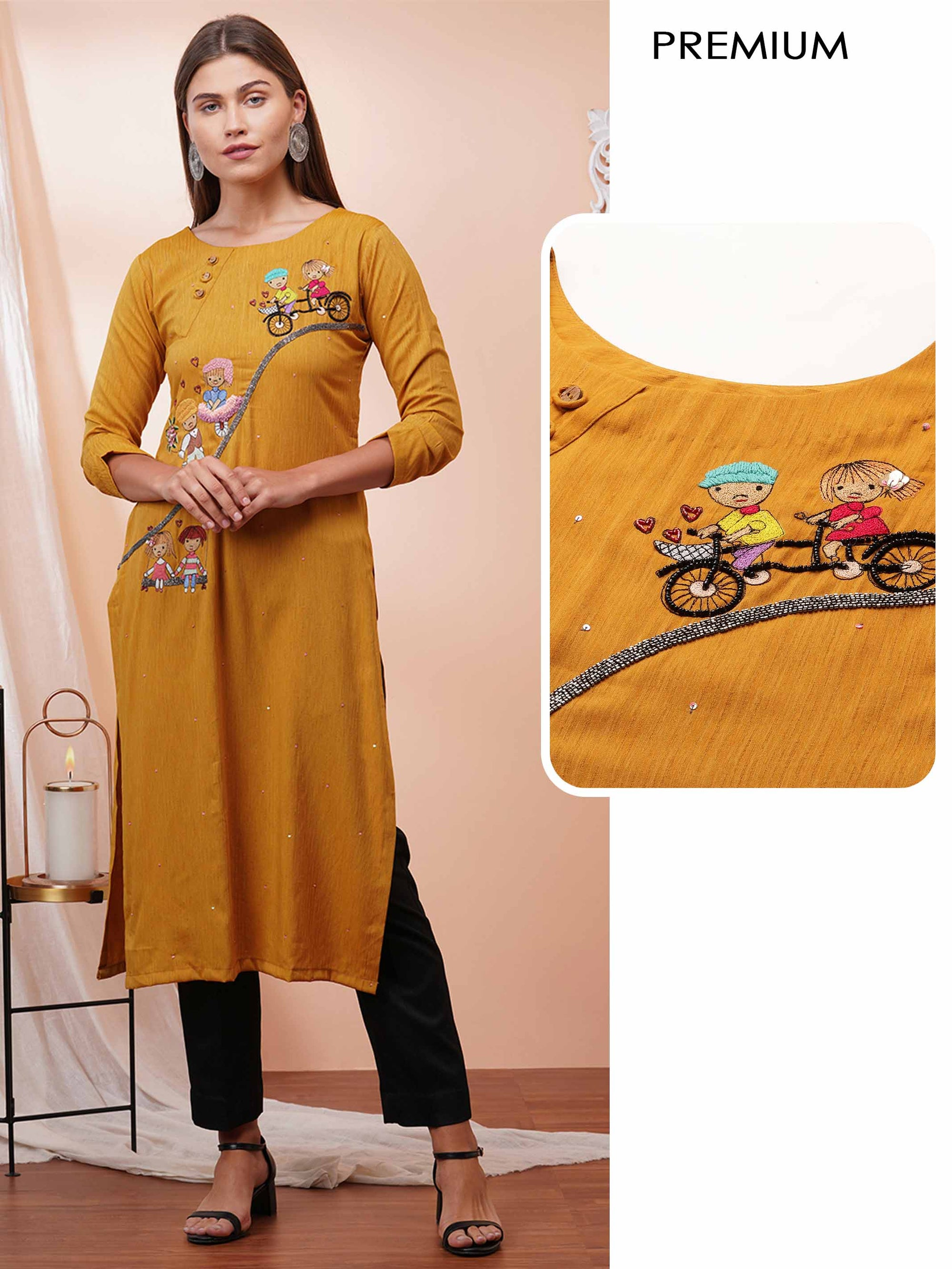Cute Cartoon Embroidered & Embellished kurta - Mustard
