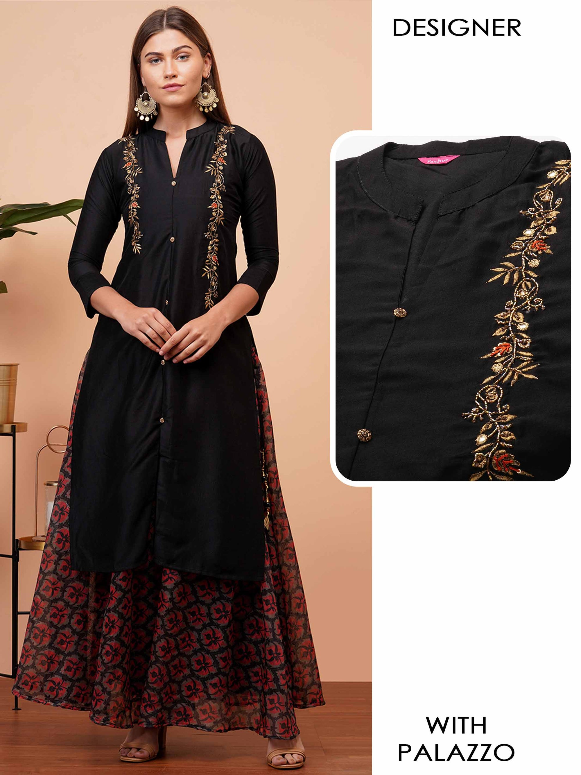 Floral Embroidered & Embellished Kurta with Floral Printed Palazzo - Black