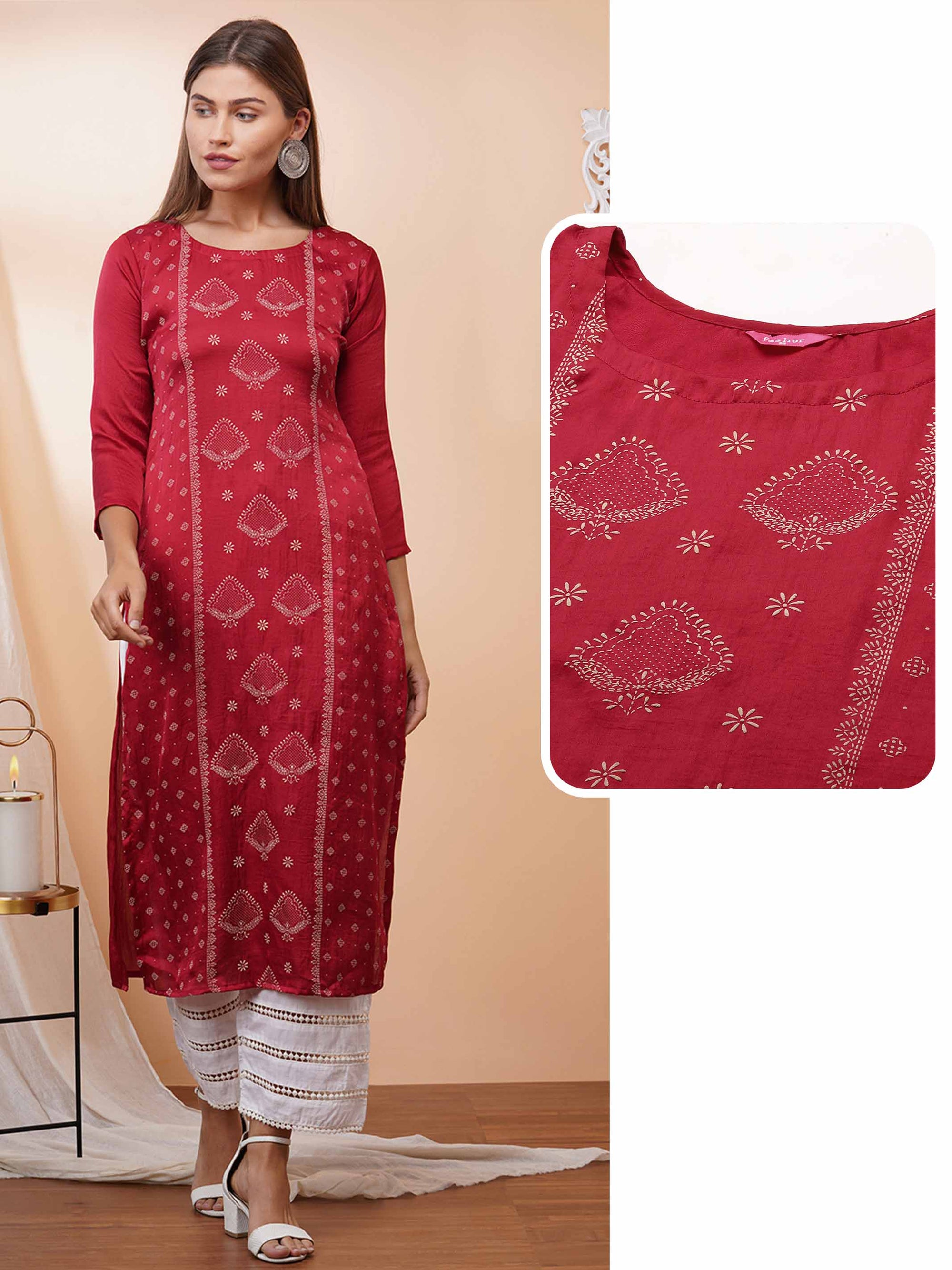 Ethnic Khari Printed Straight Kurta – Red