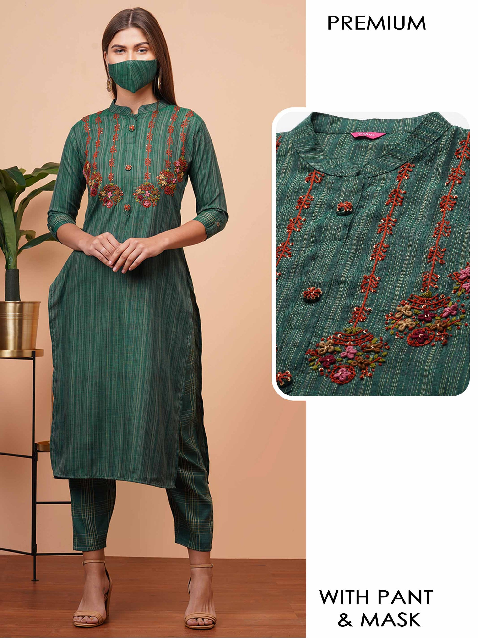 Woven Striped & Embroidered Kurta with Checkered Pant & 2-Ply Mask - Bottle Green