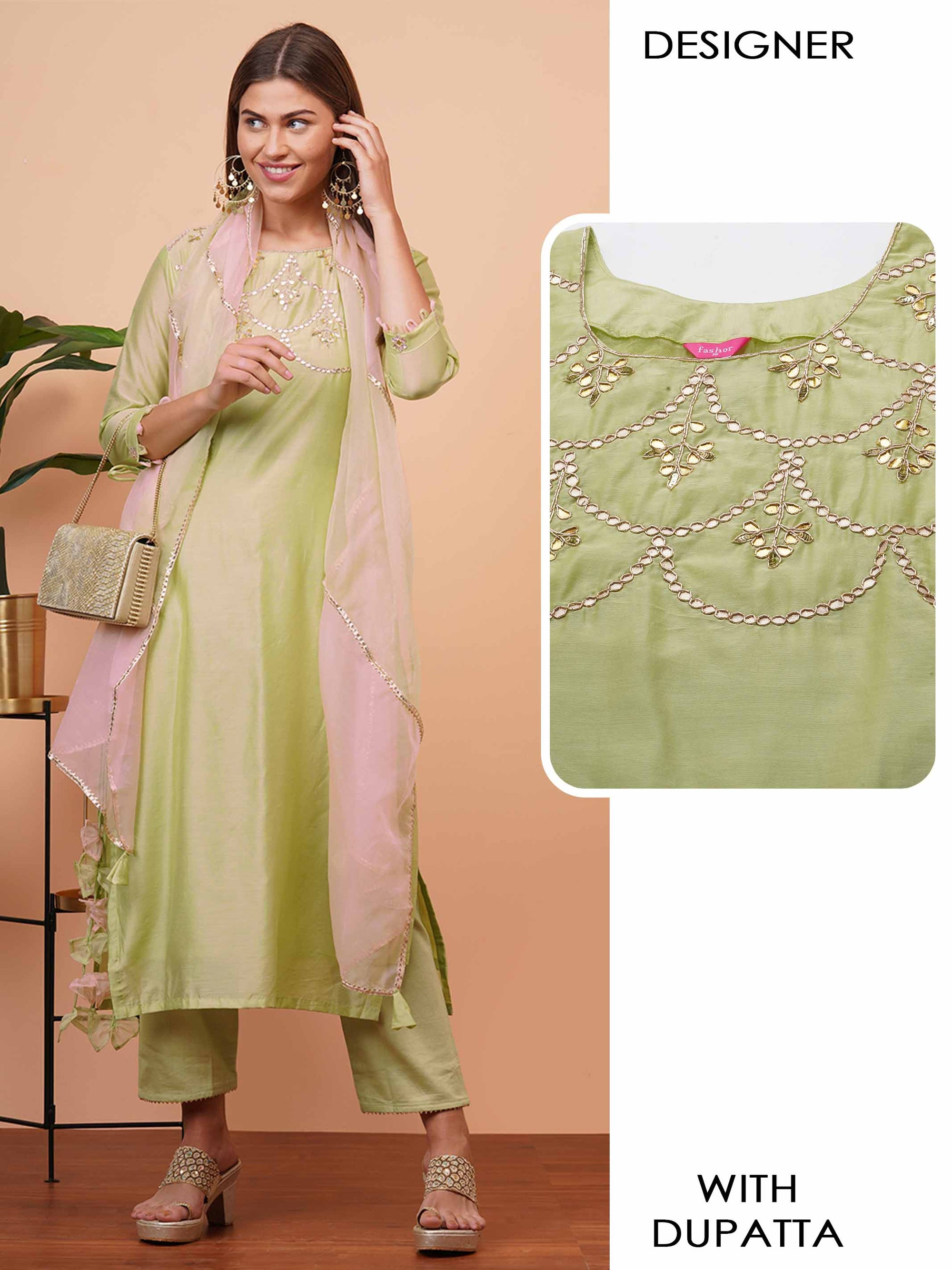 Elegant Embellished Straight Kurta with Gota Embroidered Dupatta - Green