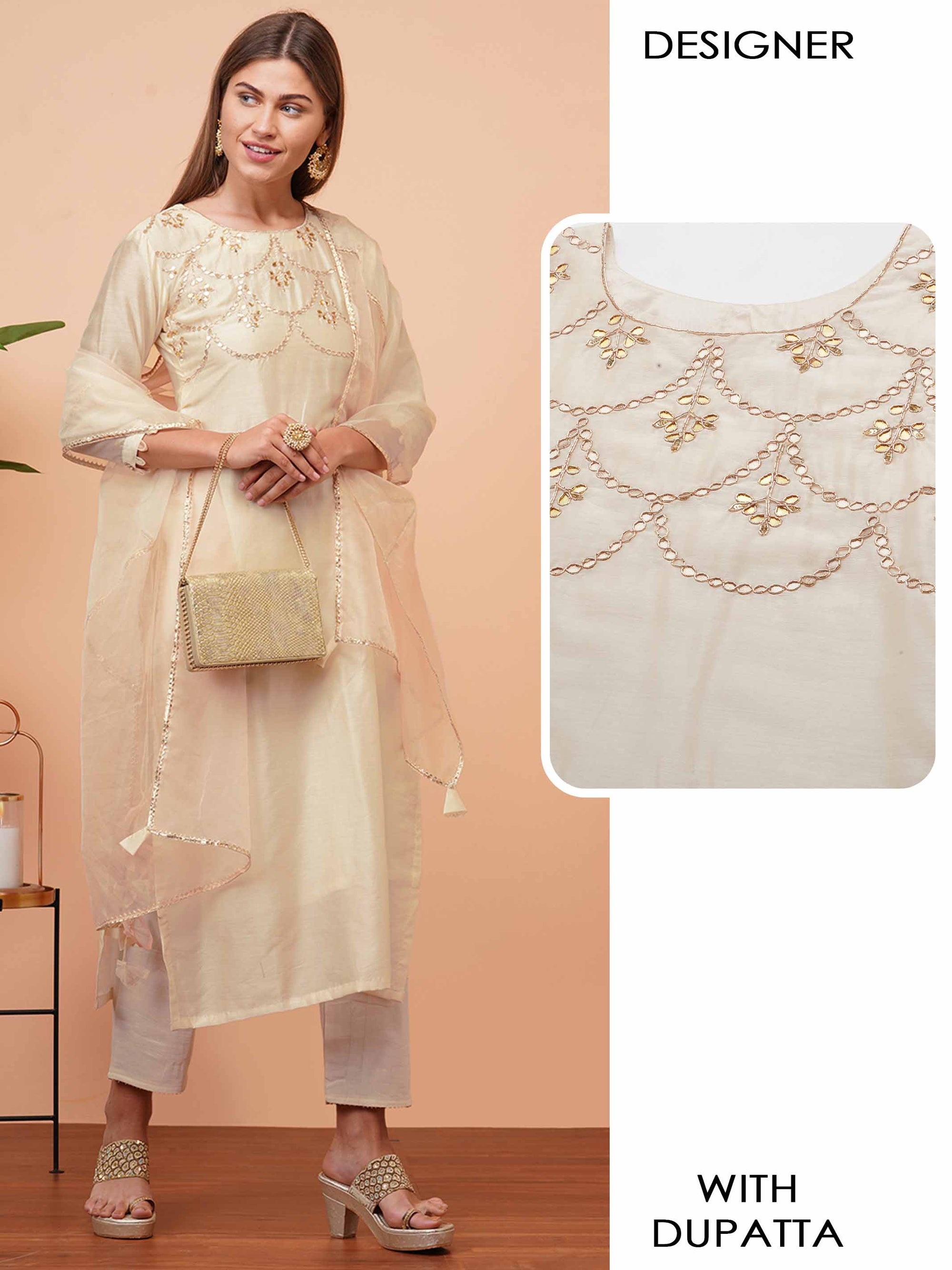 Elegant Embellished Straight Kurta with Gota Embroidered Dupatta - Off white
