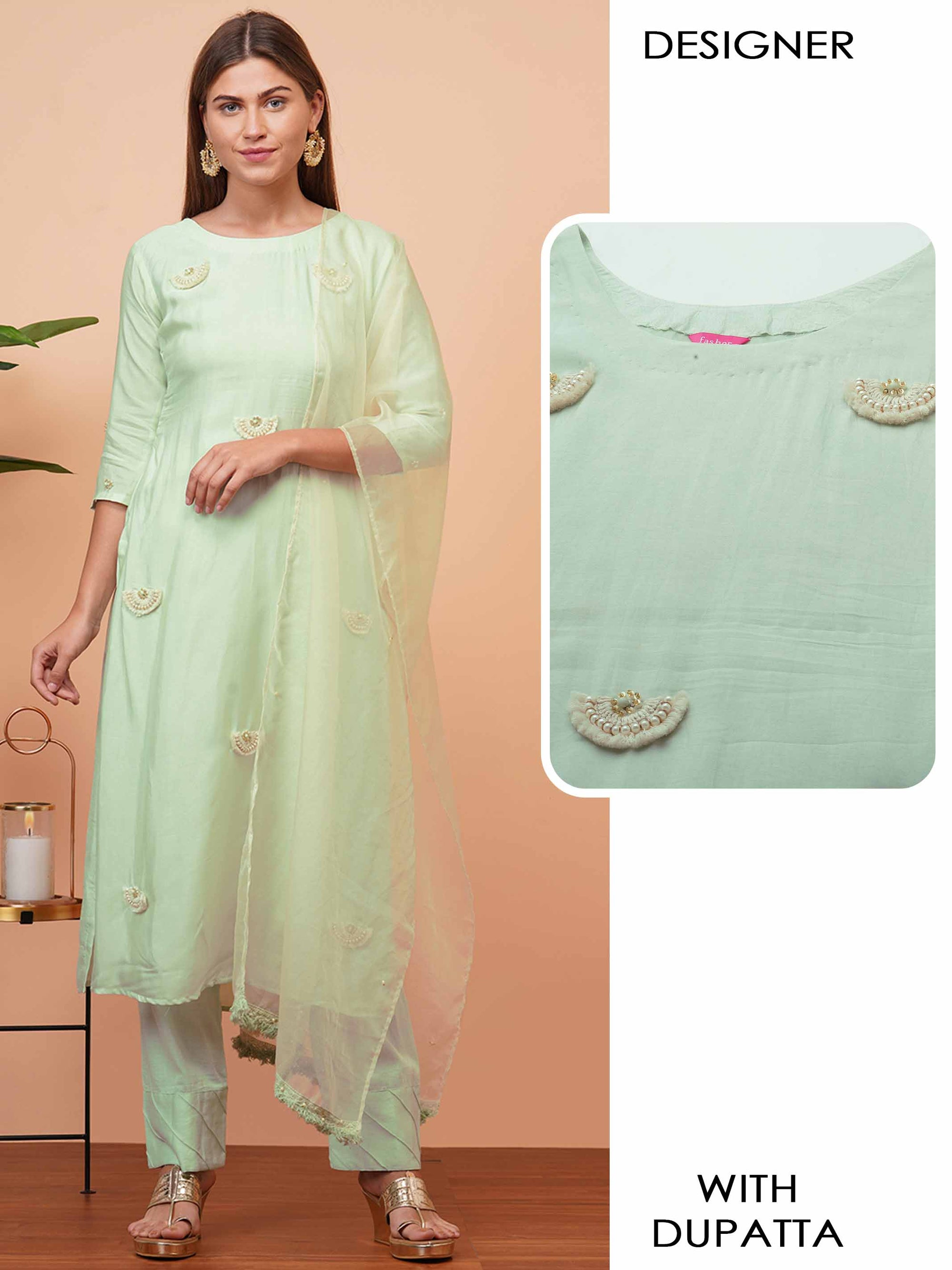 Ethnic Embellished Straight Kurta with Organza Dupatta - Mint Green