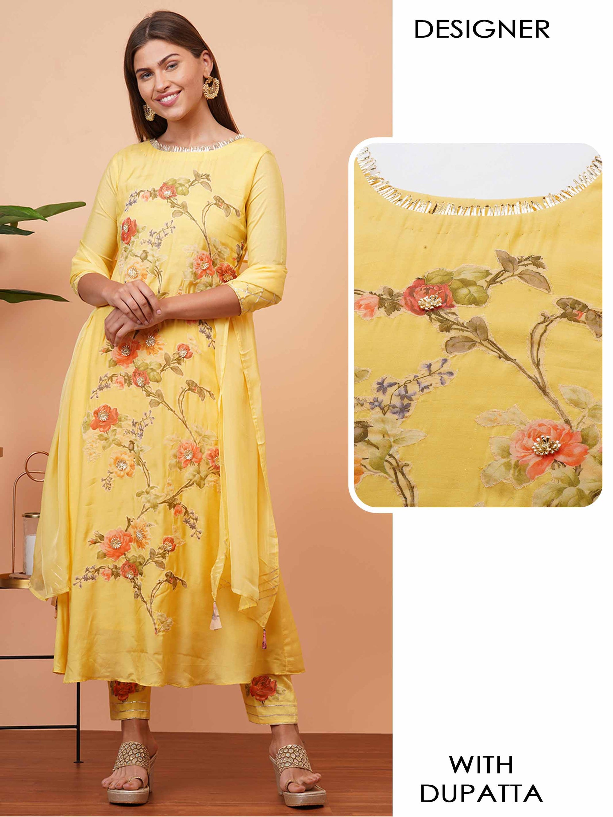 Floral Applique & Gota Embellished Kurta with Gota Embroidered Dupatta - Yellow