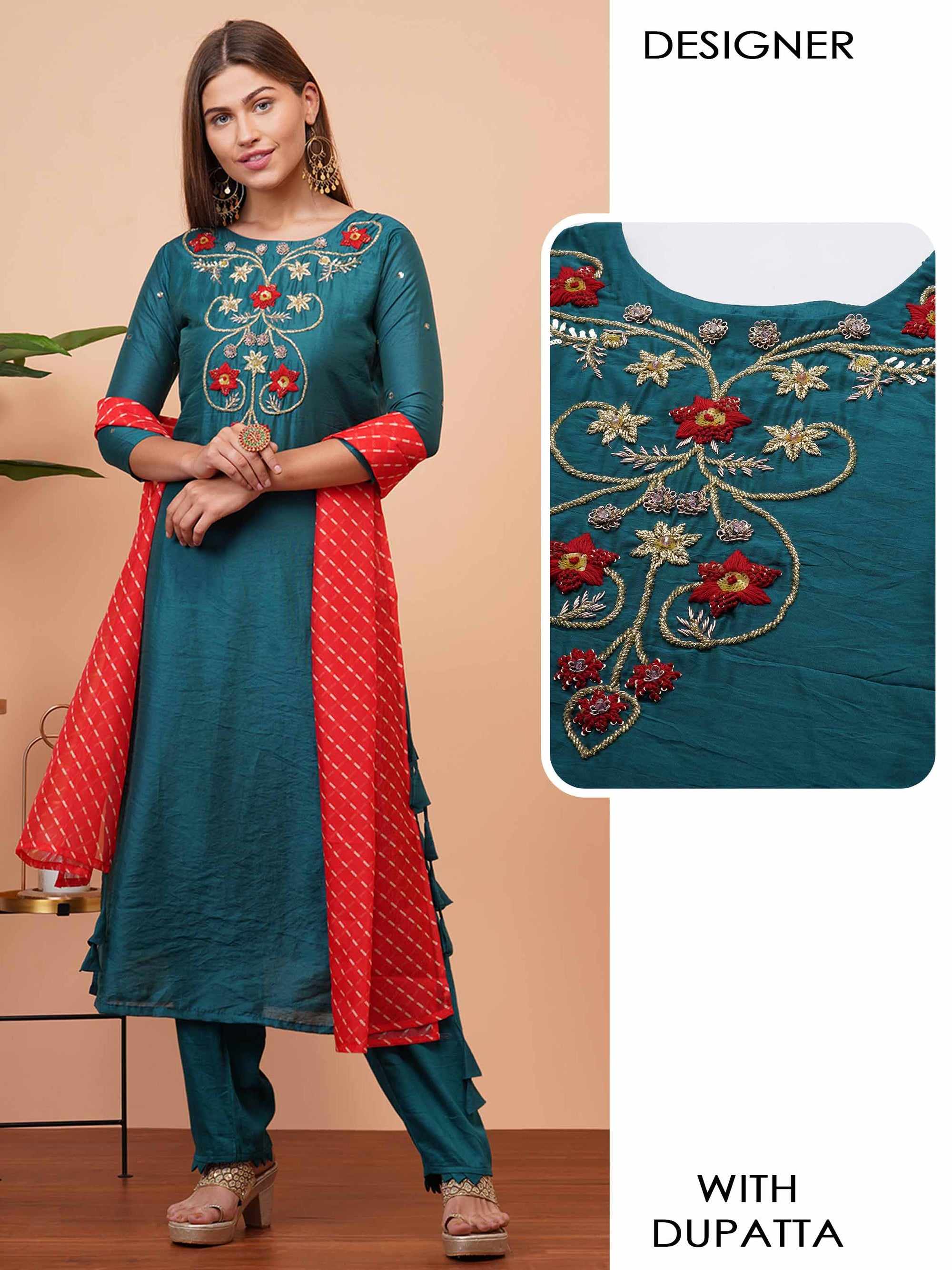 Floral Heavy Embellished Kurta with Lehariya Printed Dupatta - Teal Green