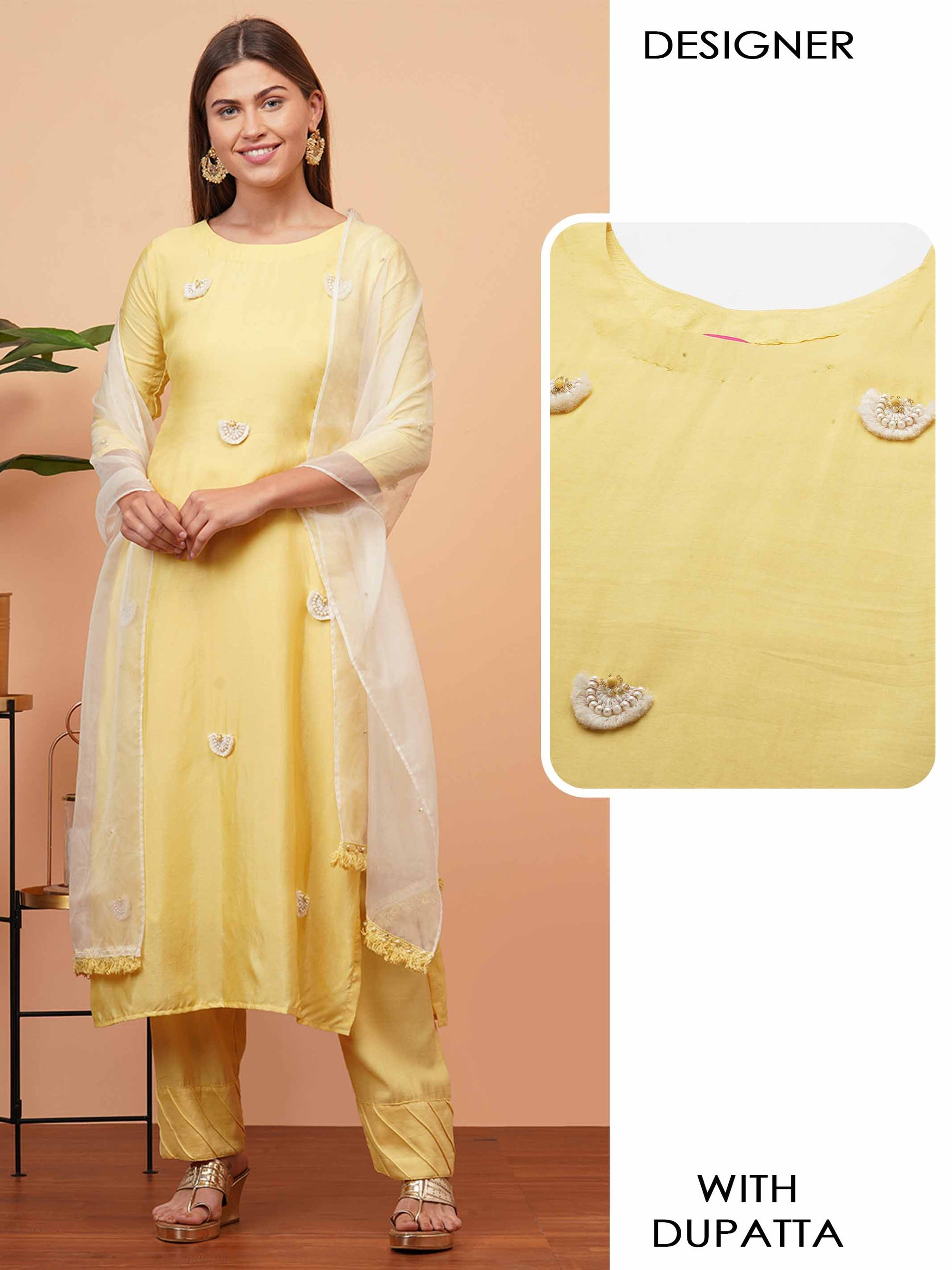 Ethnic Embellished Straight Kurta with Organza Dupatta - Yellow