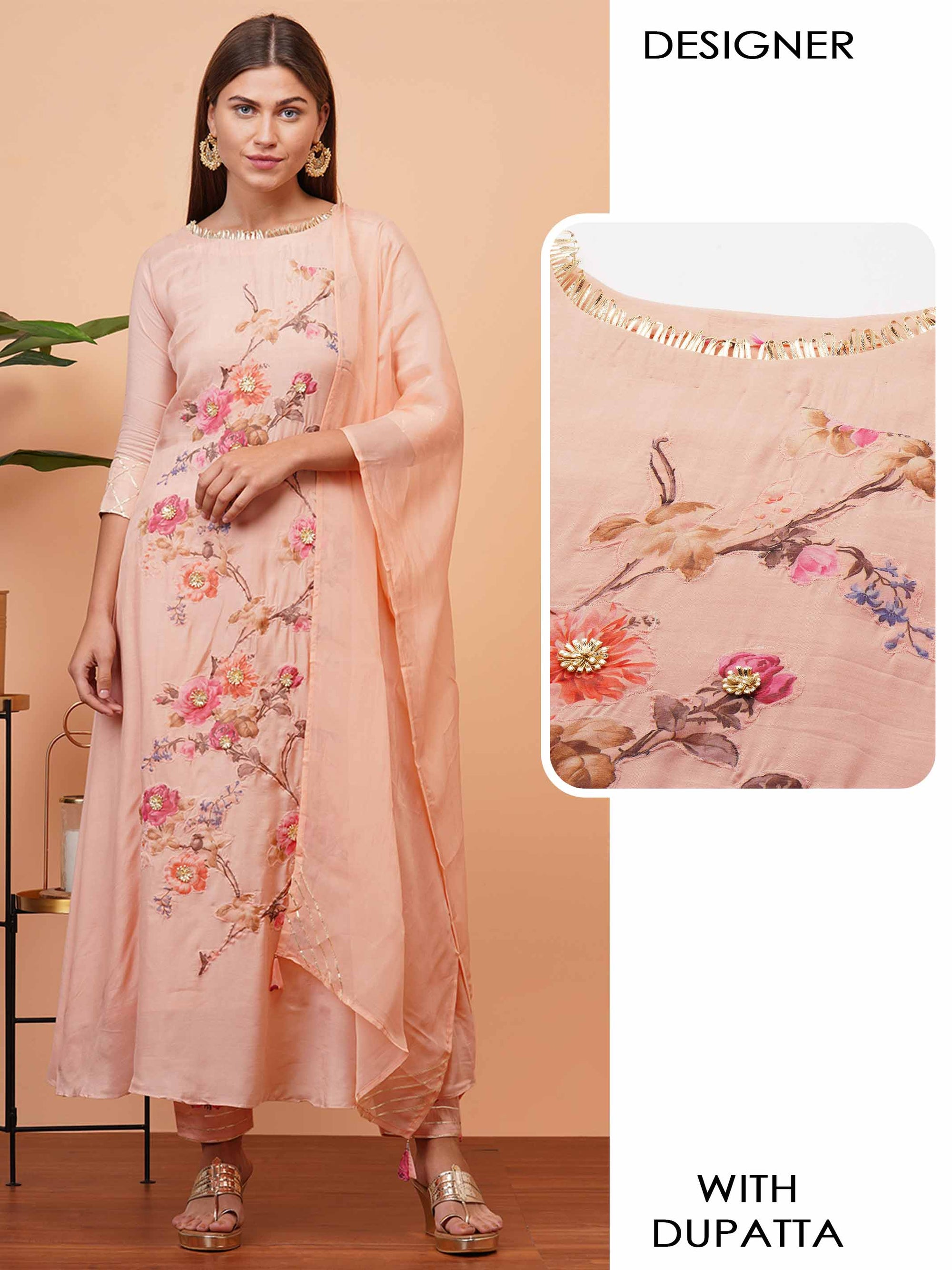 Floral Applique & Gota Embellished Kurta with Gota Embroidered Dupatta - Peach