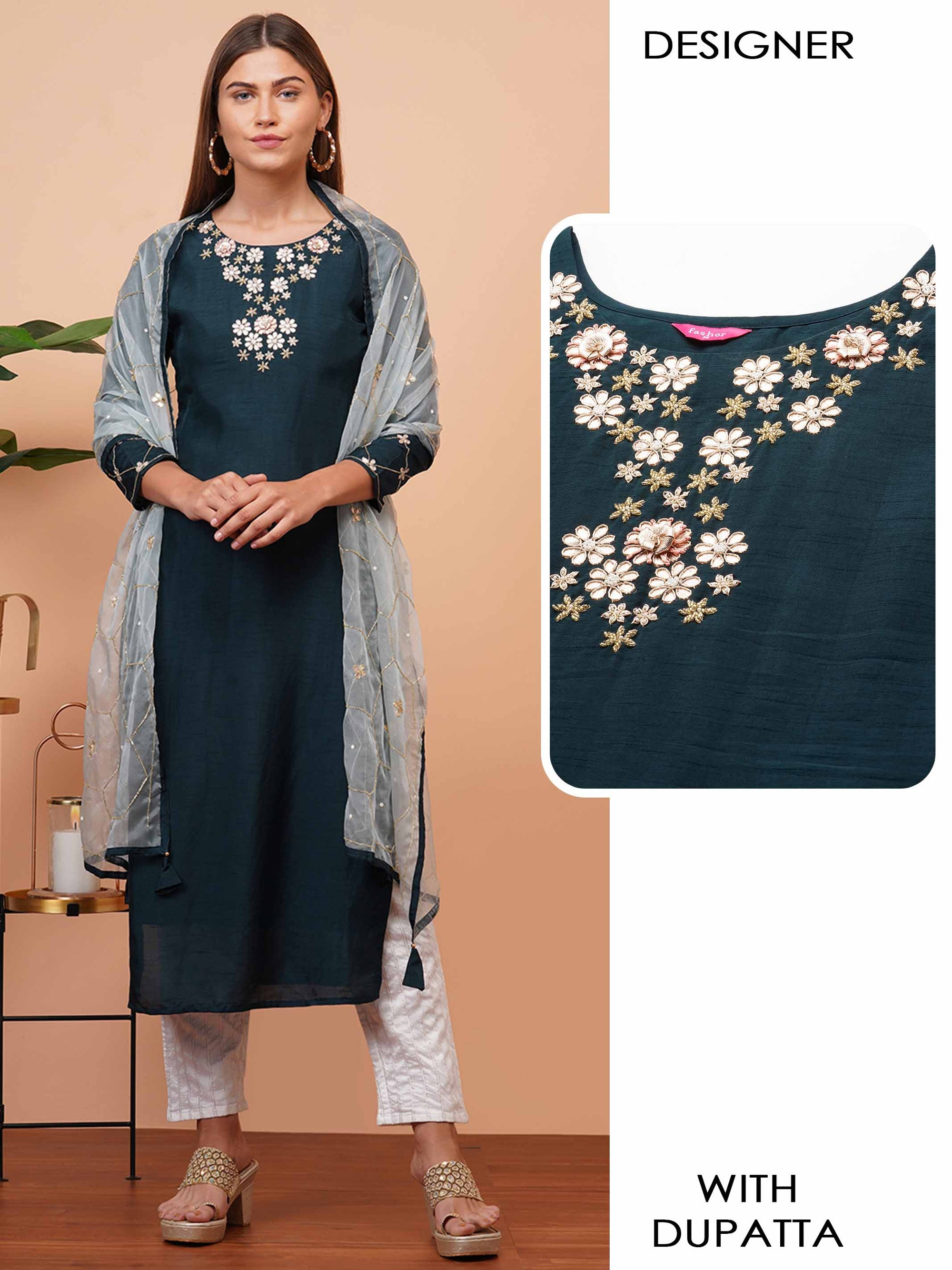 Elegant Embellished Yoke Kurta with Heavy Embellished Dupatta - Dark Teal