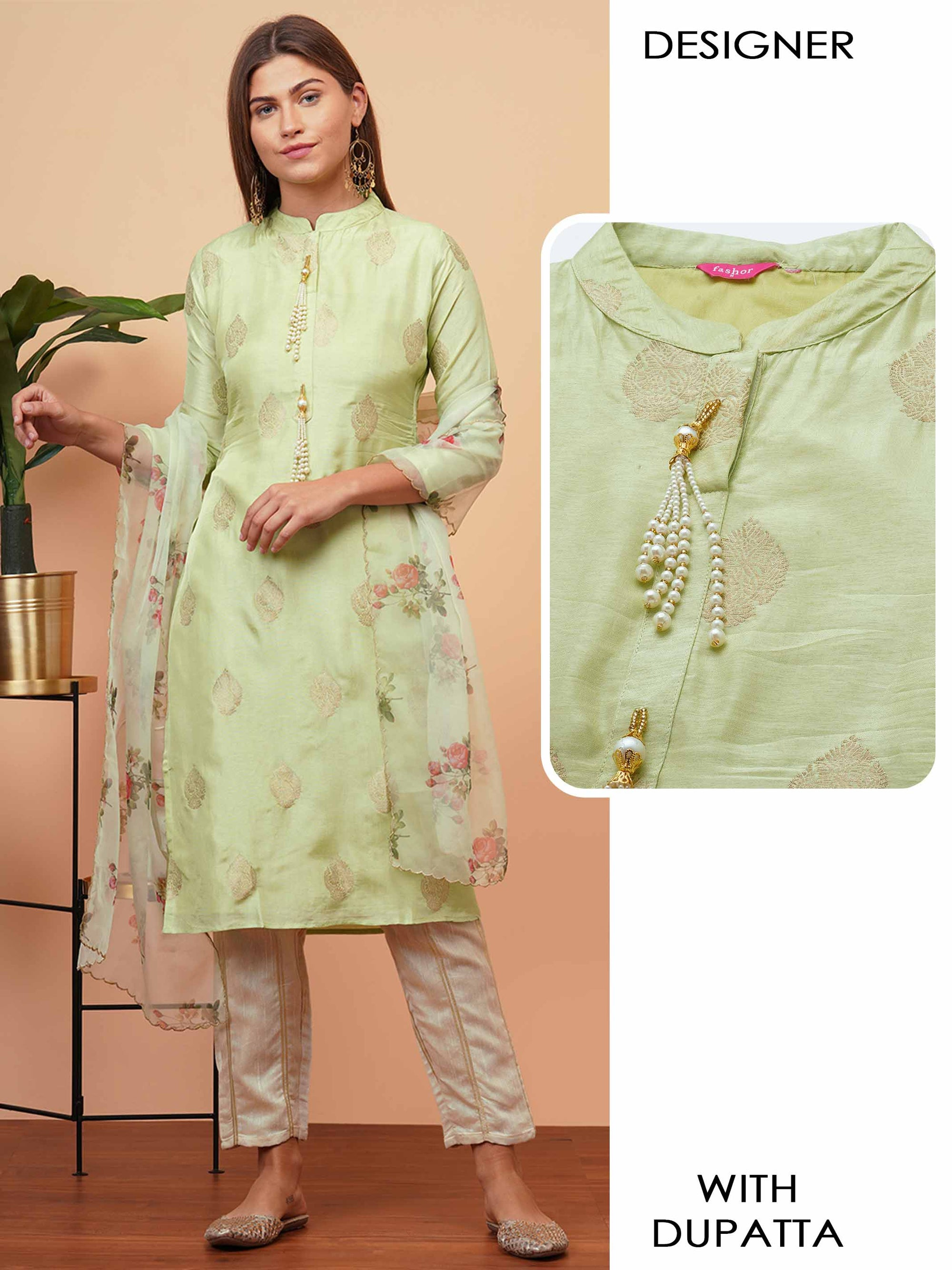 Ethnic Zari Woven Straight Kurta with Floral Printed Dupatta - Green