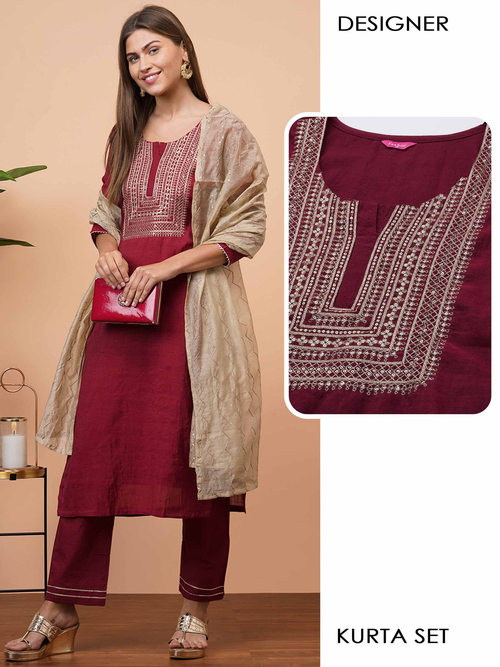 Zari Embroidered Kurta with Solid pant with Contrast Embroidered Dupatta - Maroon