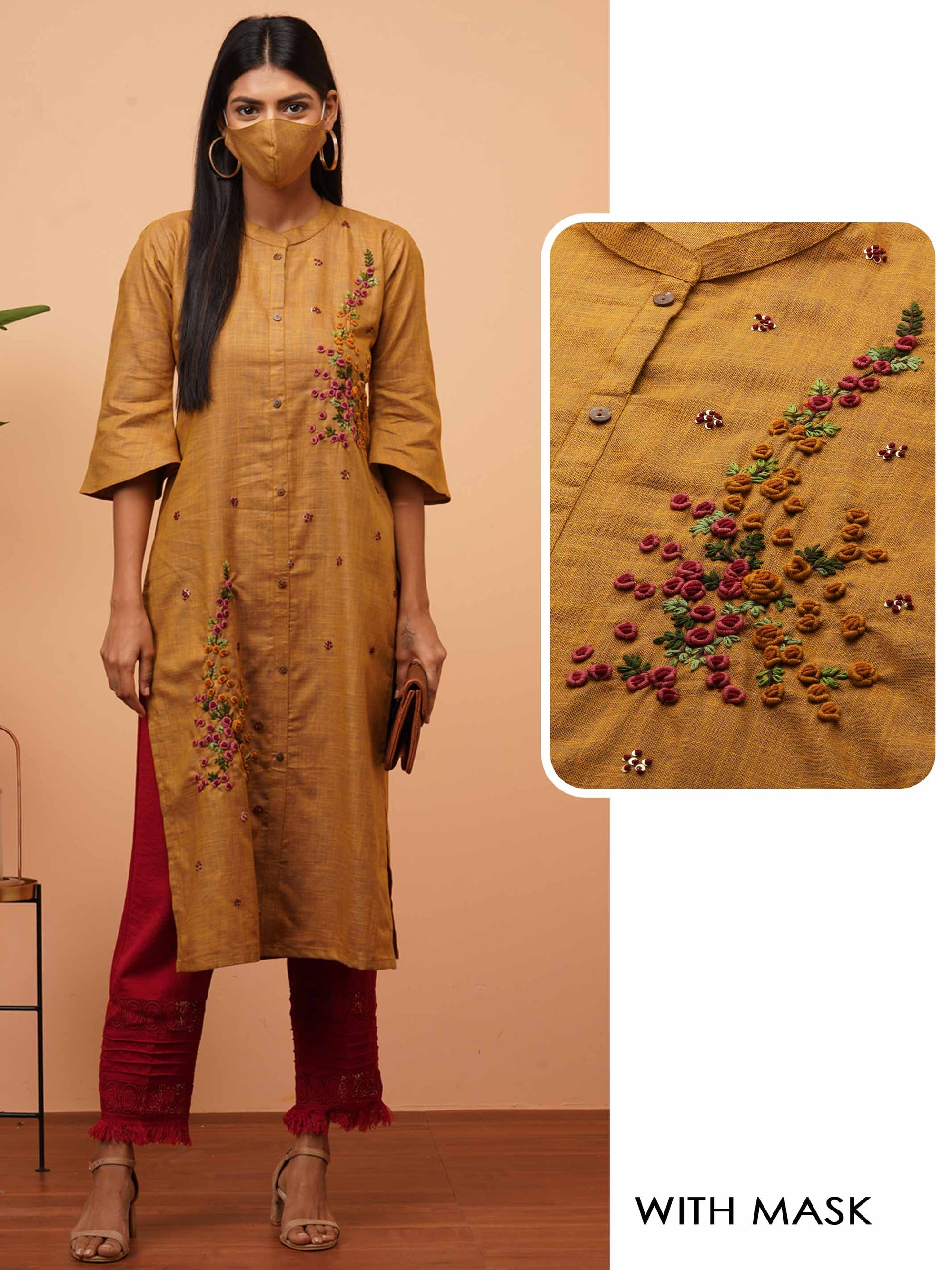 Floral Embroidered Straight Kurta with Matching 2-Ply Mask - Mud Brown