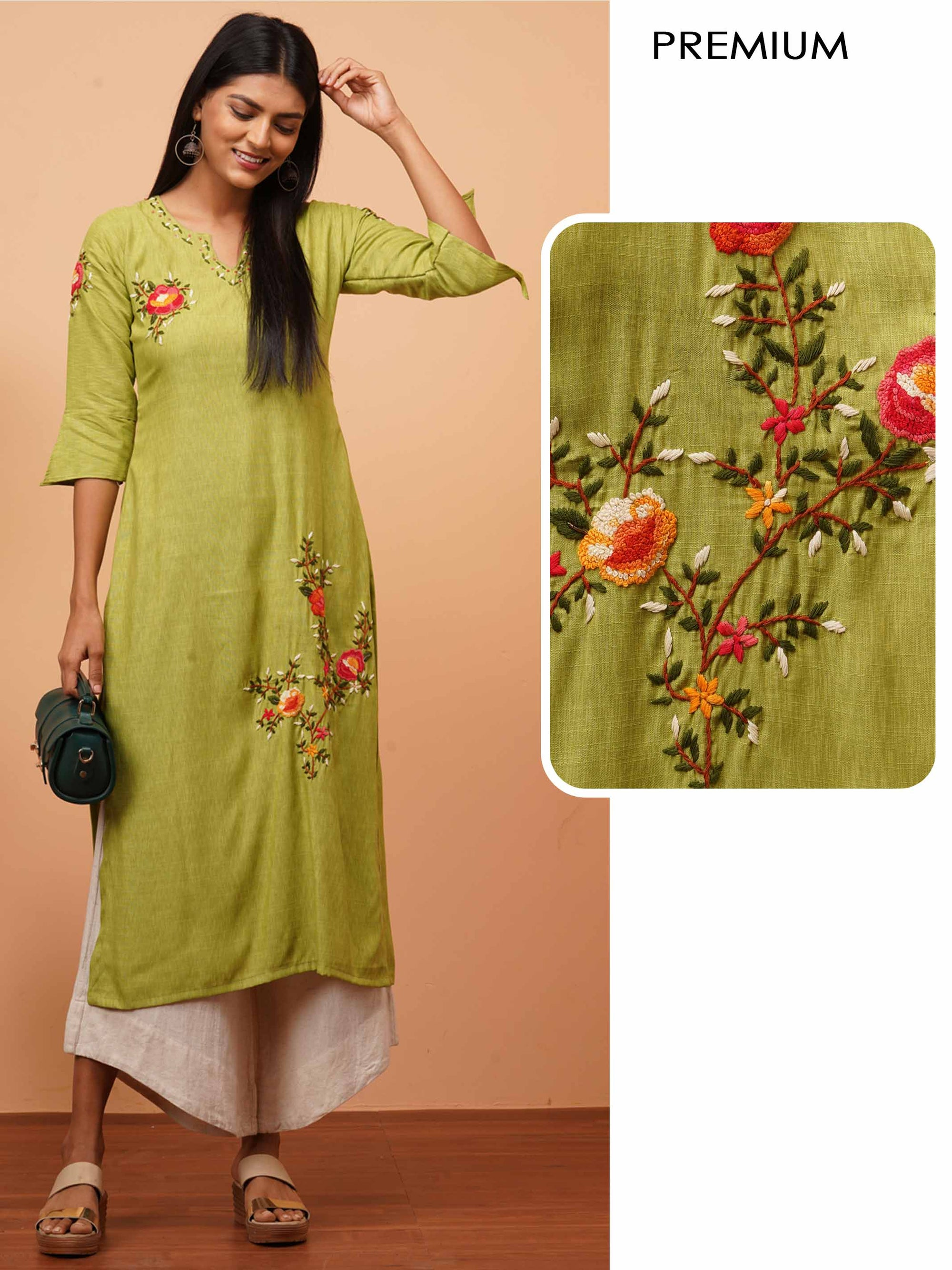 French Knot Embroidered Straight Kurta - Green