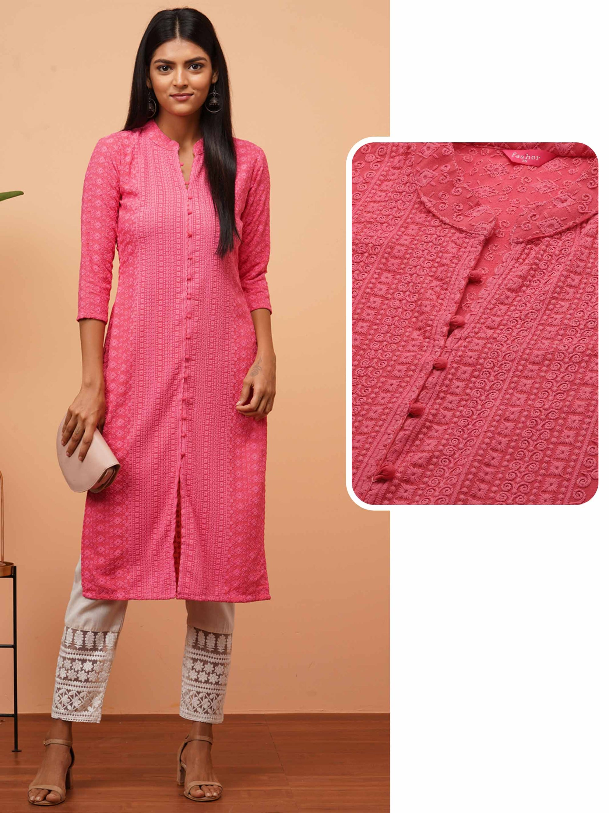 Chikankari Embroidered Straight Kurta - Pink