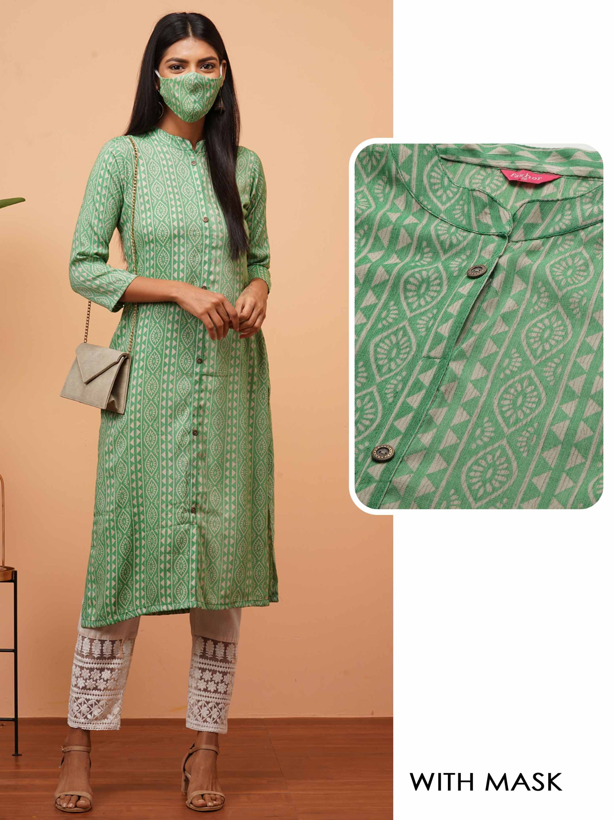 Ethnic Desne Printed Straight Kurta with 2-Ply Mask - Green