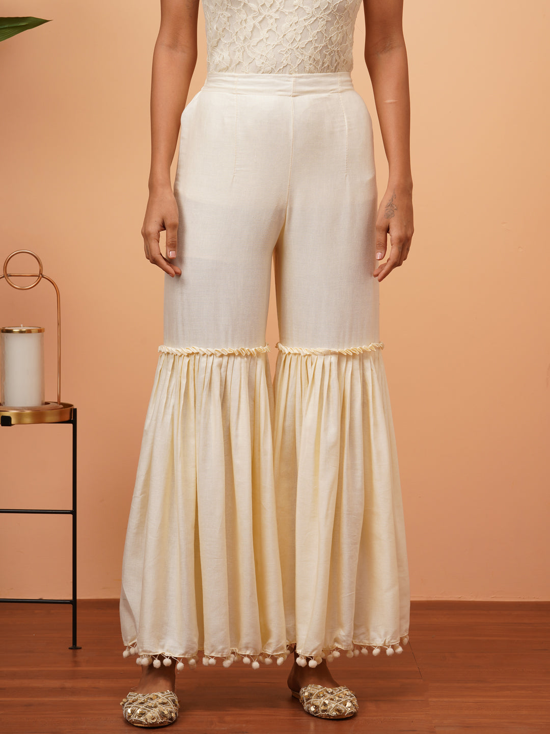 Pom-Pom Laced Solid Sharara - Off White