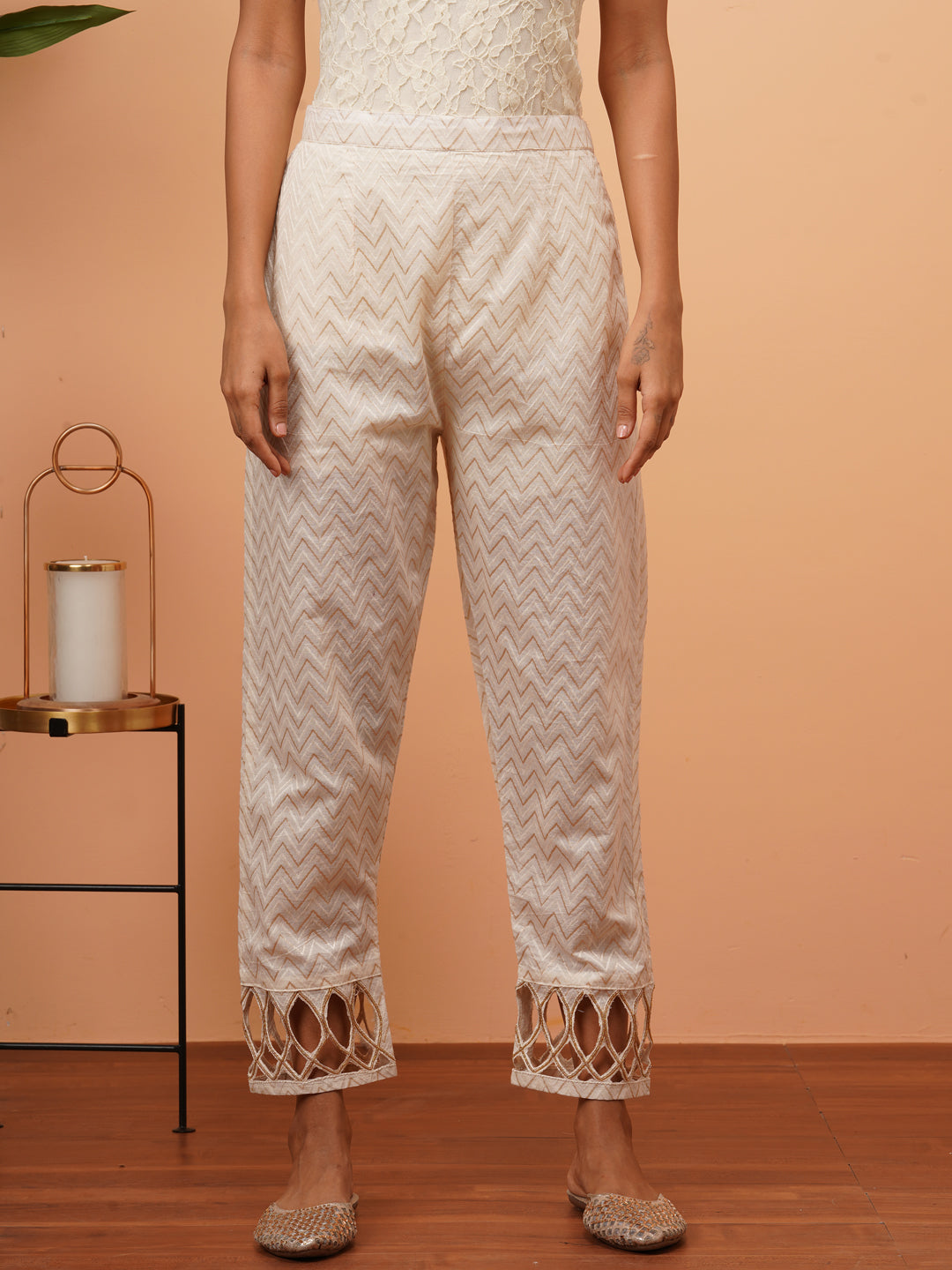 Woven Chevron & Cut-work Embellished Pants - Off White
