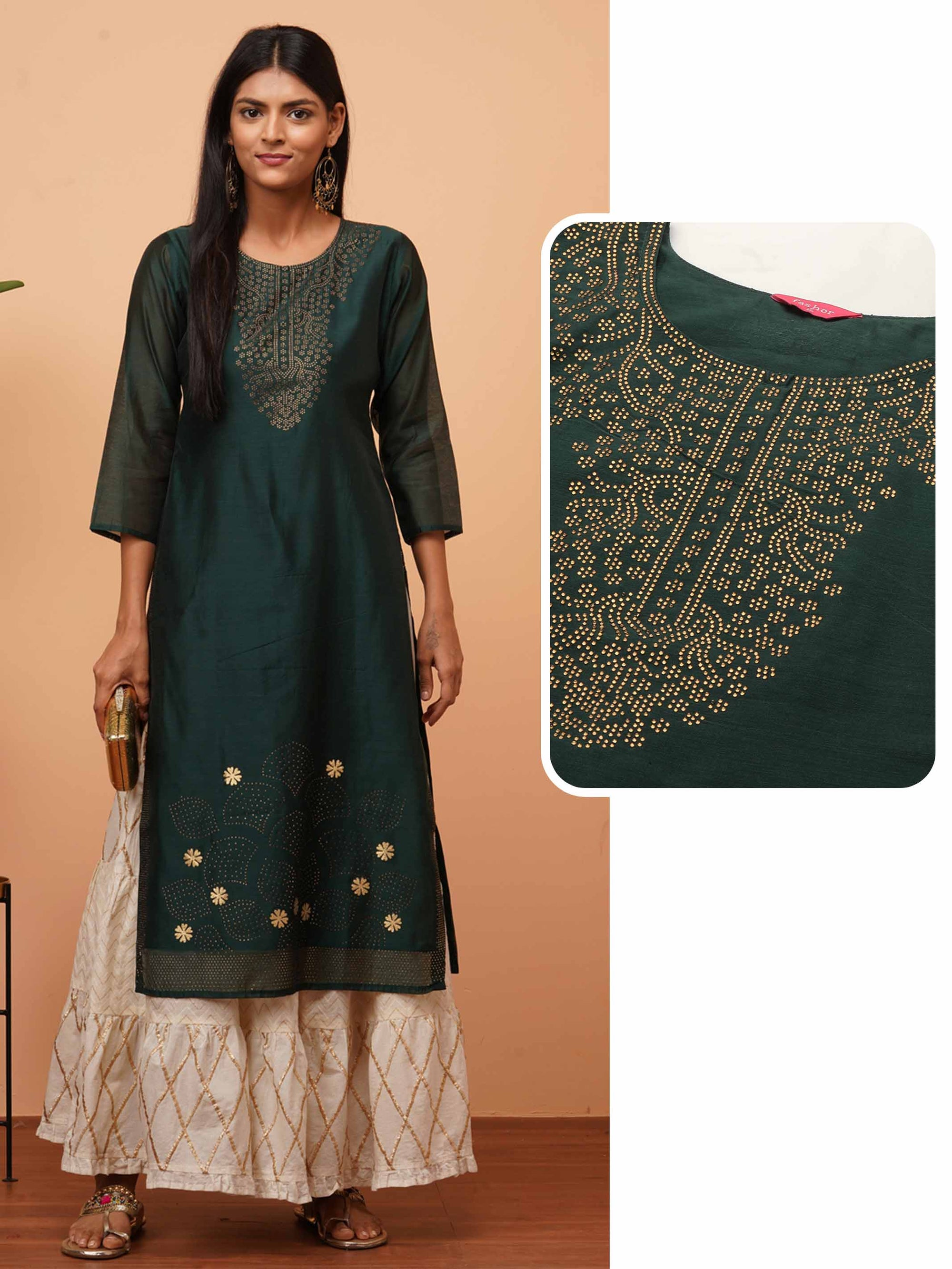 Ethnic Stone Embellished Straight Kurta - Emerald Green