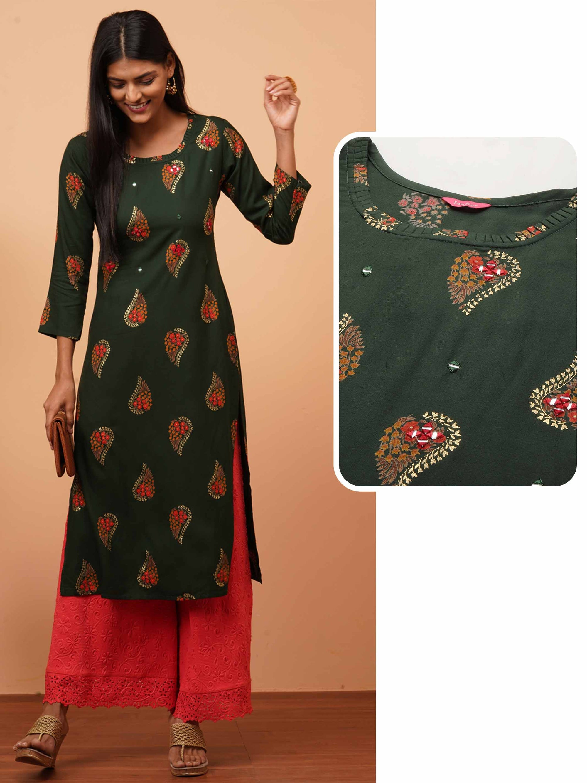 Ethnic Floral Printed & Mirror Embellished Straight Kurta - Emerald Green