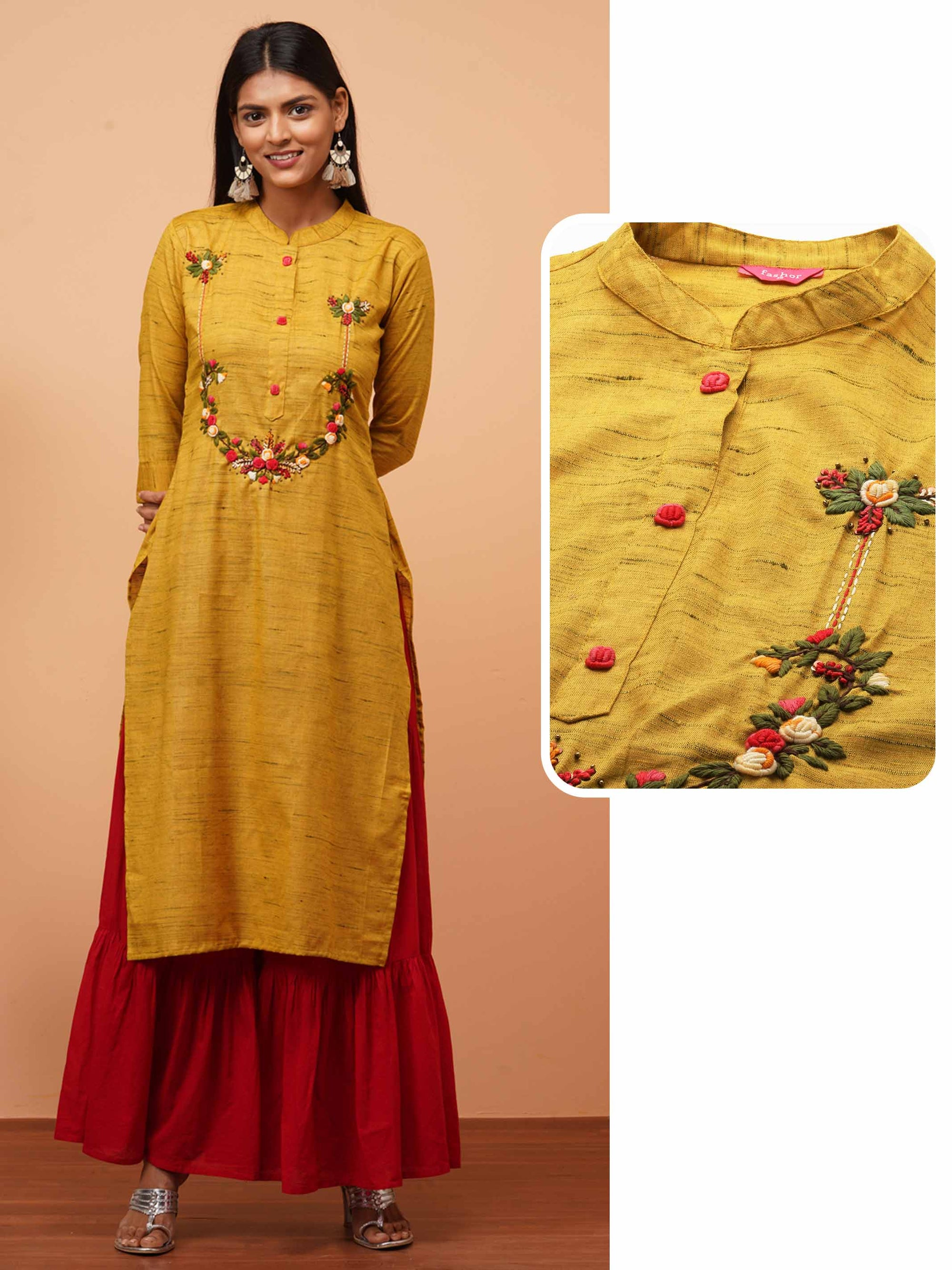 Floral Embroidered & Textured Fabric Straight Kurta - Mustard
