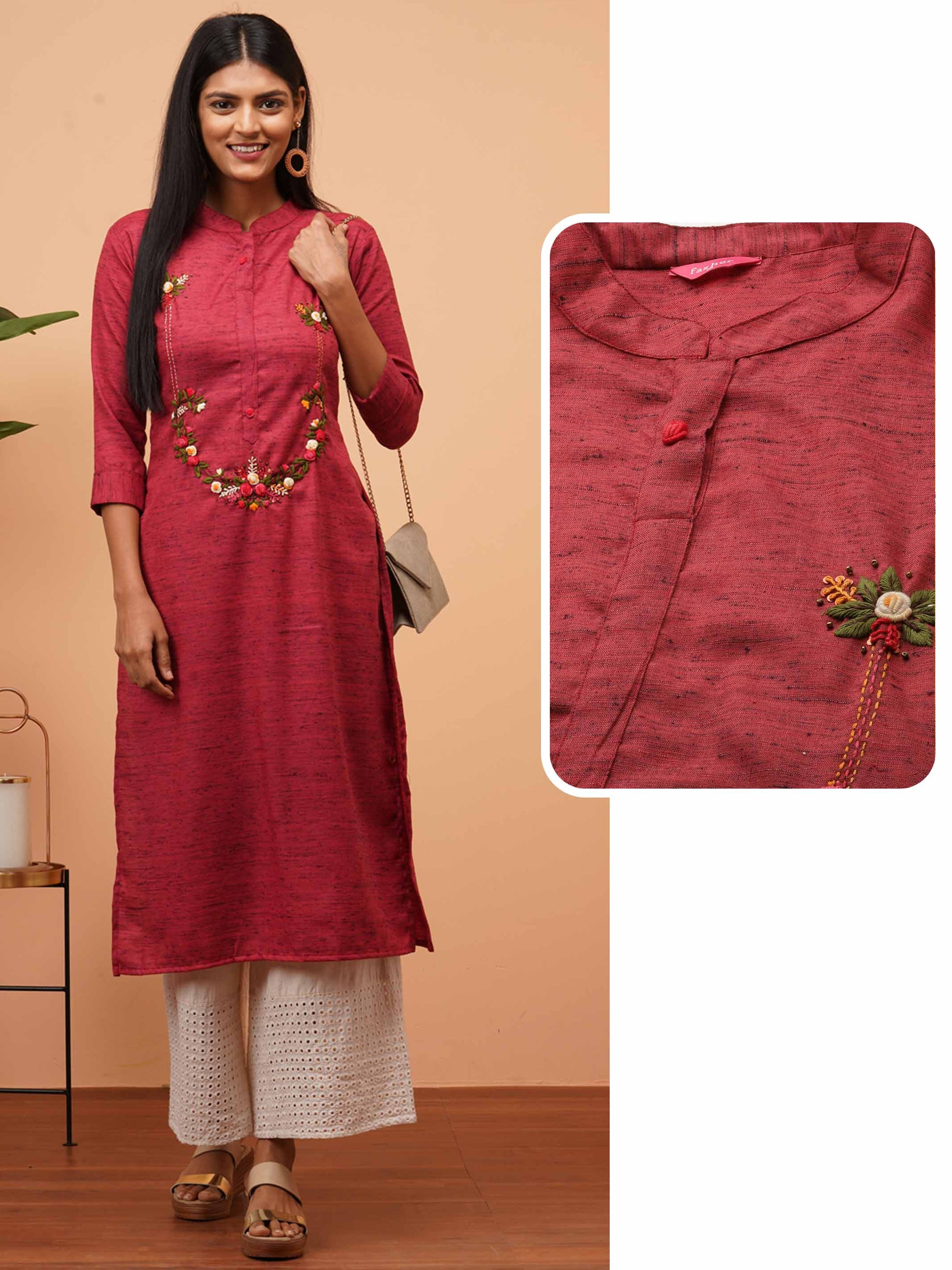 Floral Embroidered & Textured Fabric Straight Kurta - Maroon