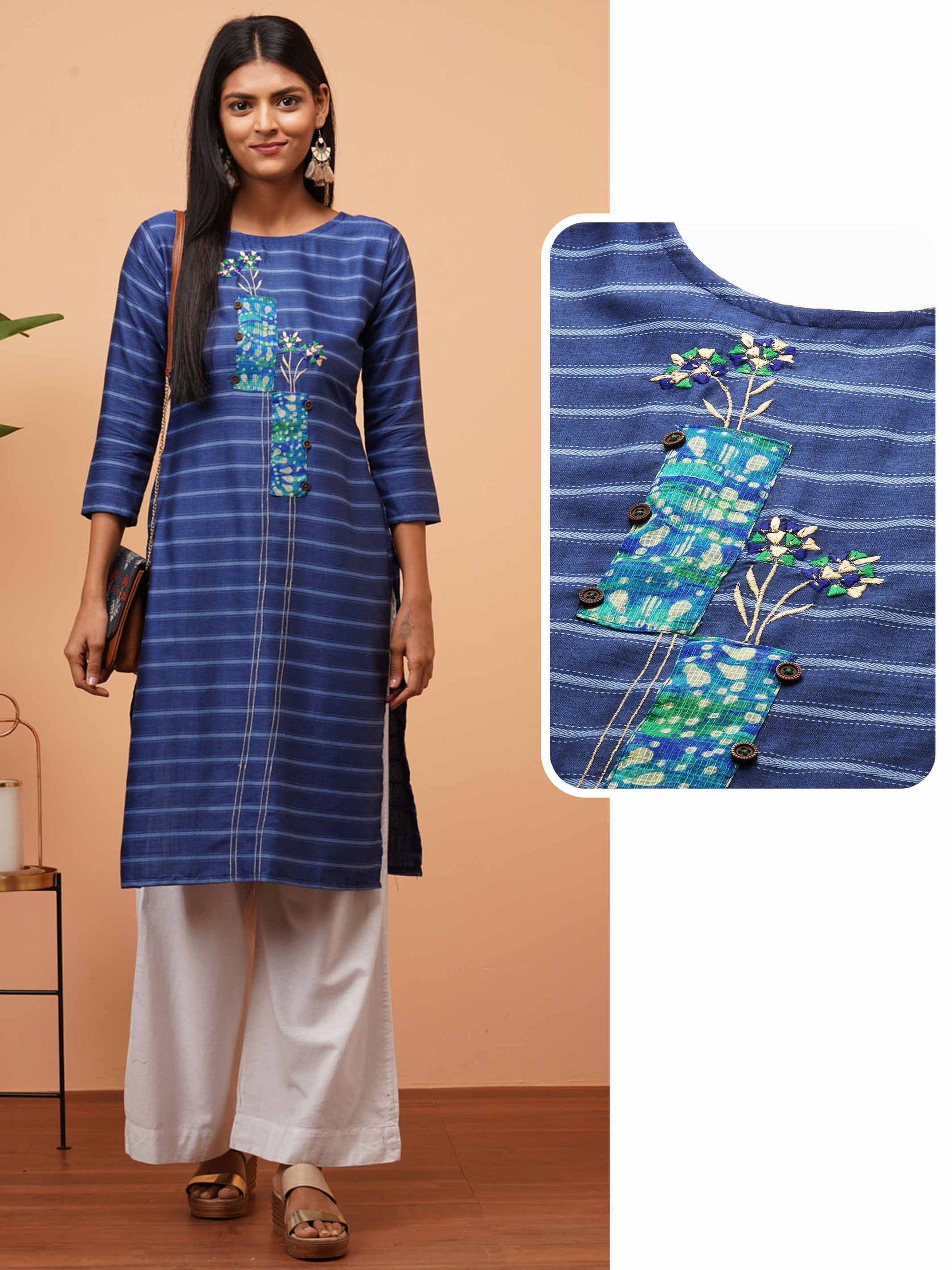 Floral Embroidered & Striped Straight Kurta - Blue