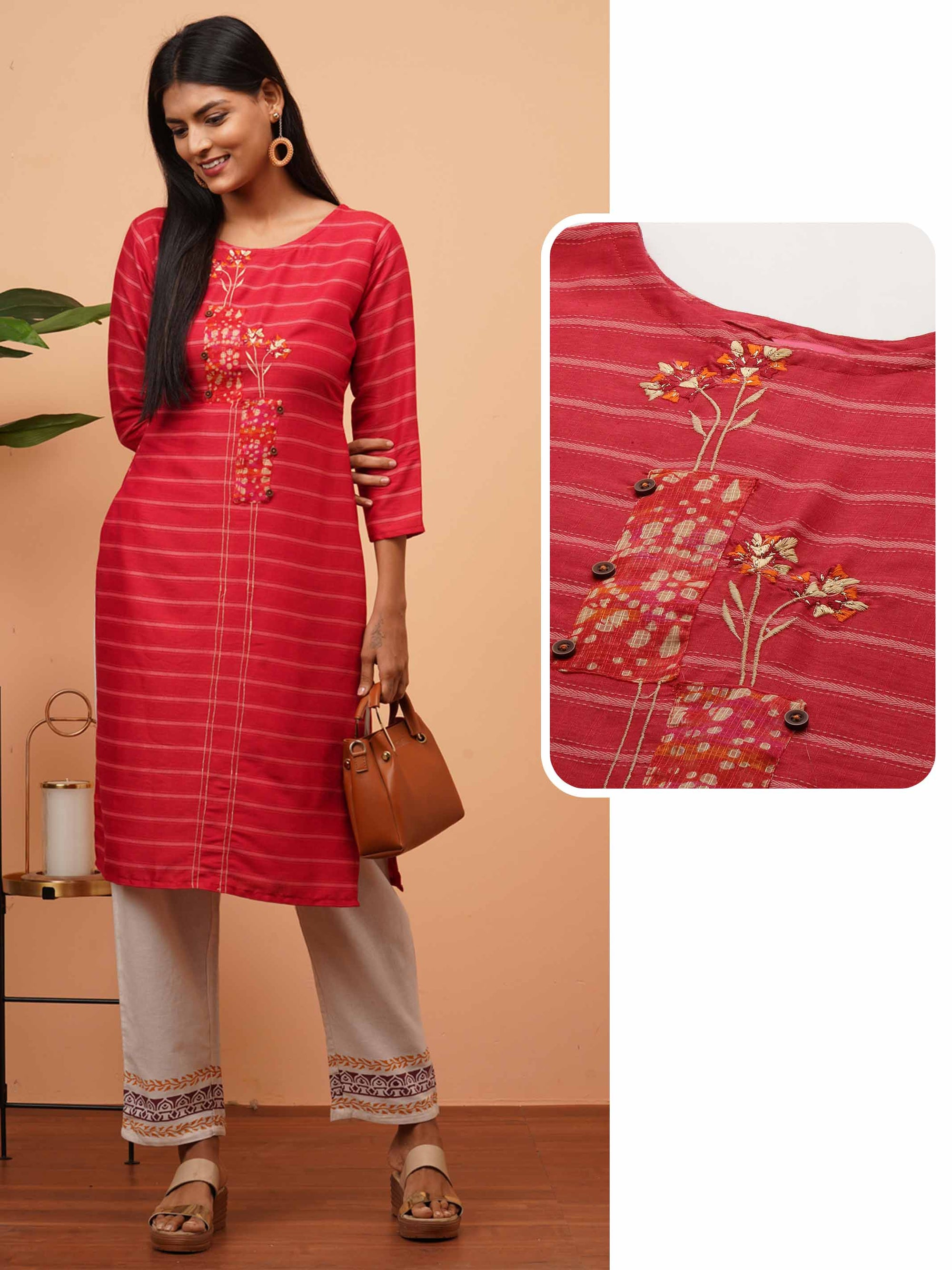 Floral Embroidered & Striped Straight Kurta - Red