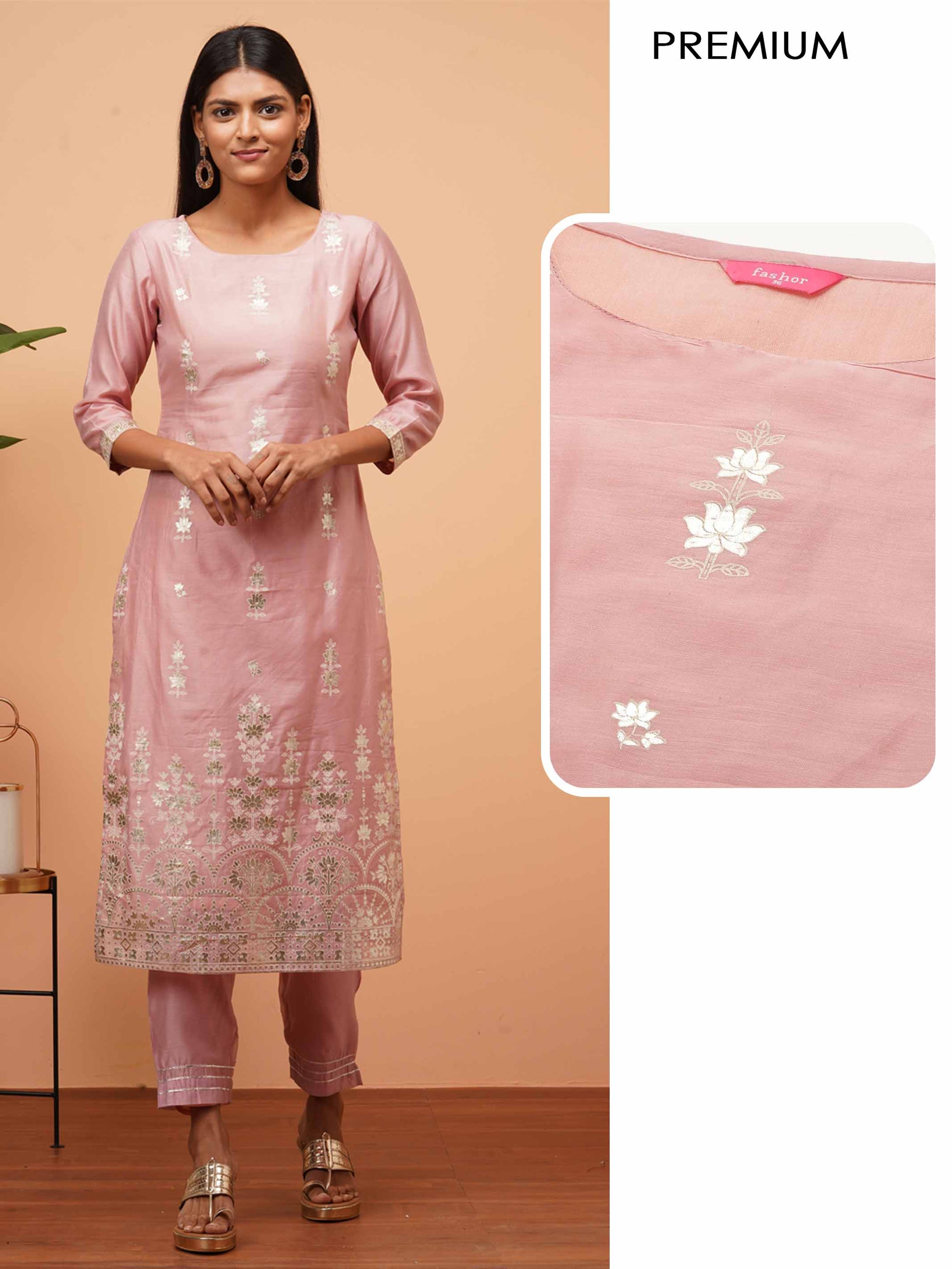 Floral Rogan Printed Straight Kurta - Blush Pink