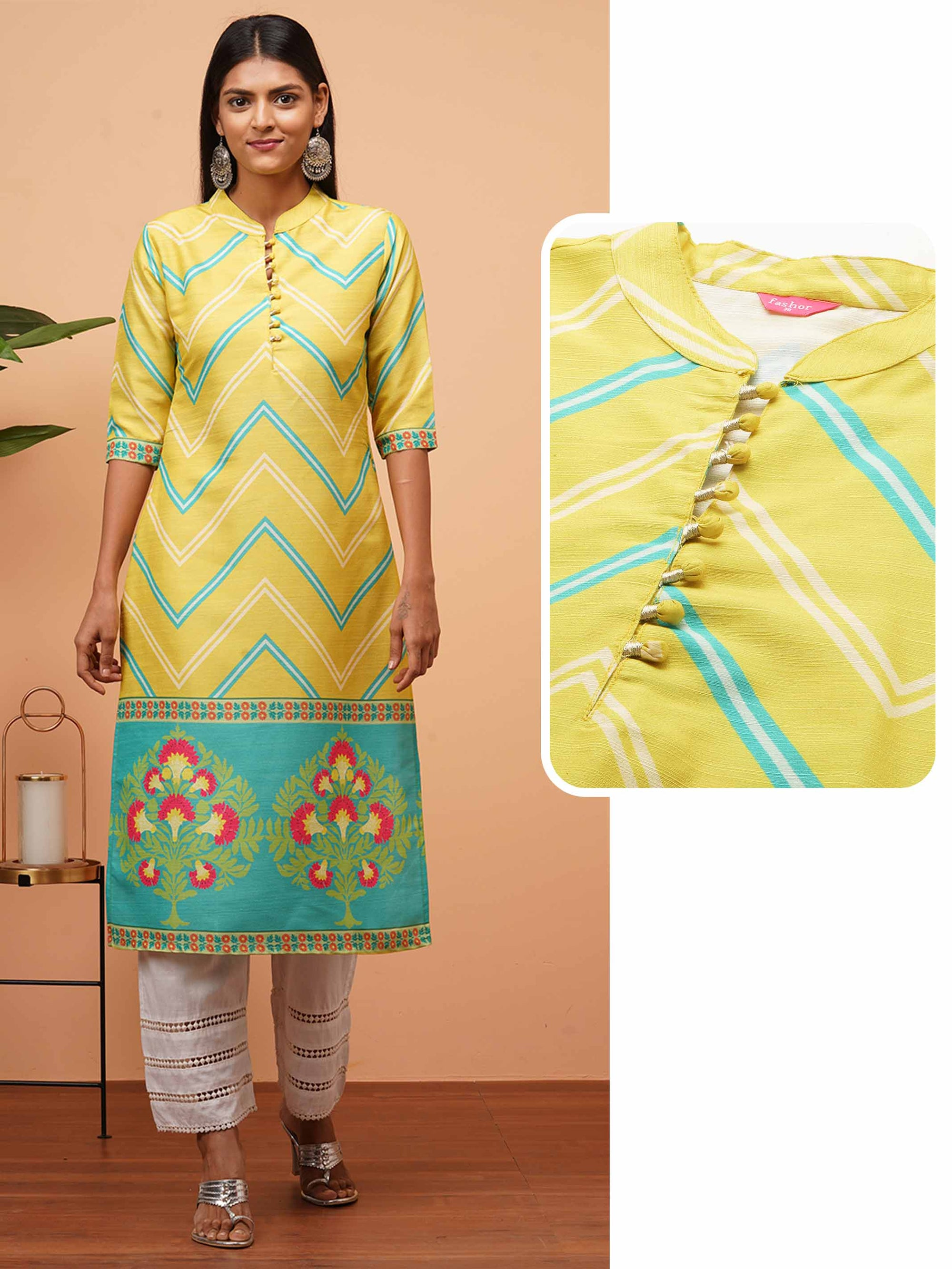 Chevron & Floral Mix Printed Straight Kurta - Lime Green