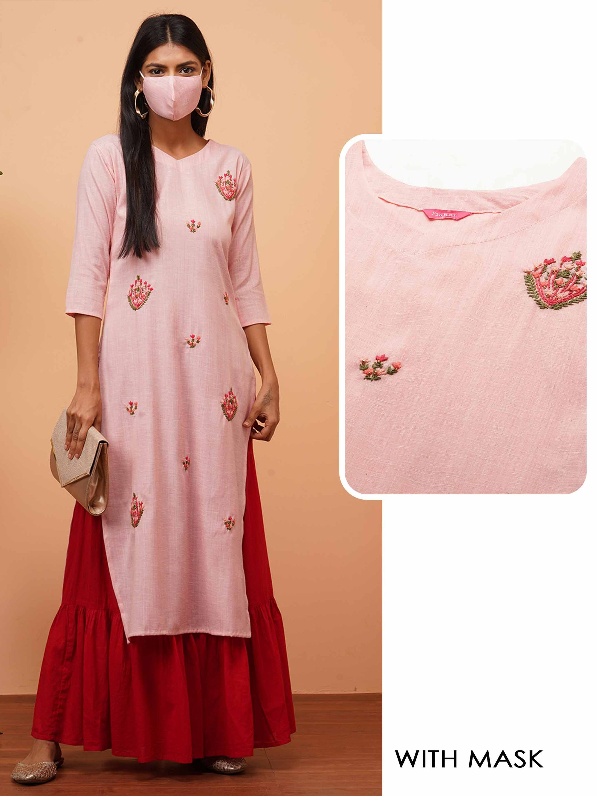 Floral Hand Embroidered Straight Kurta with 2-Ply Mask - Baby Pink