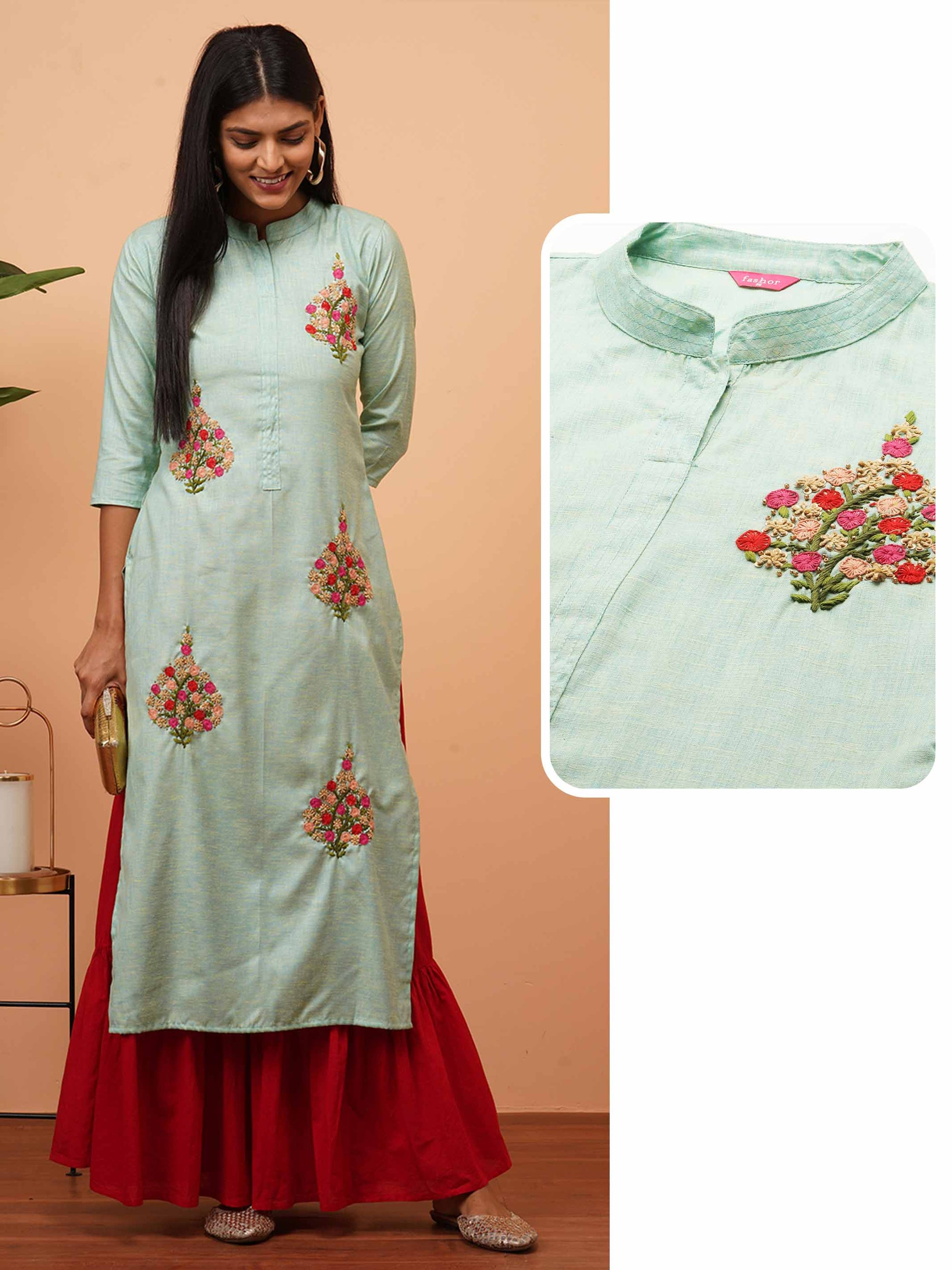 Floral Hand Embroidered Straight Kurta - Mint Green