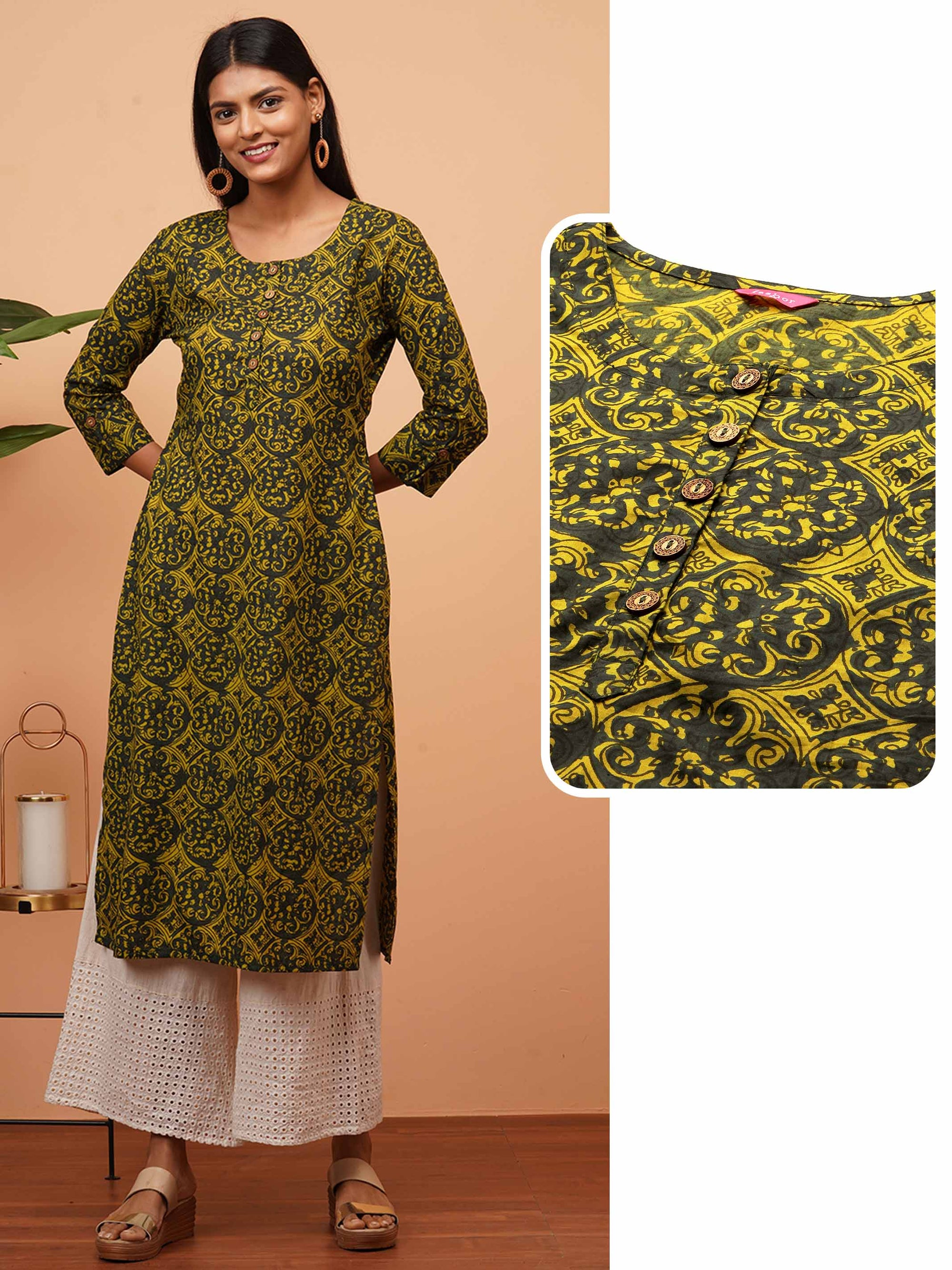 Ethnic Dense Printed Straight Kurta - Multi