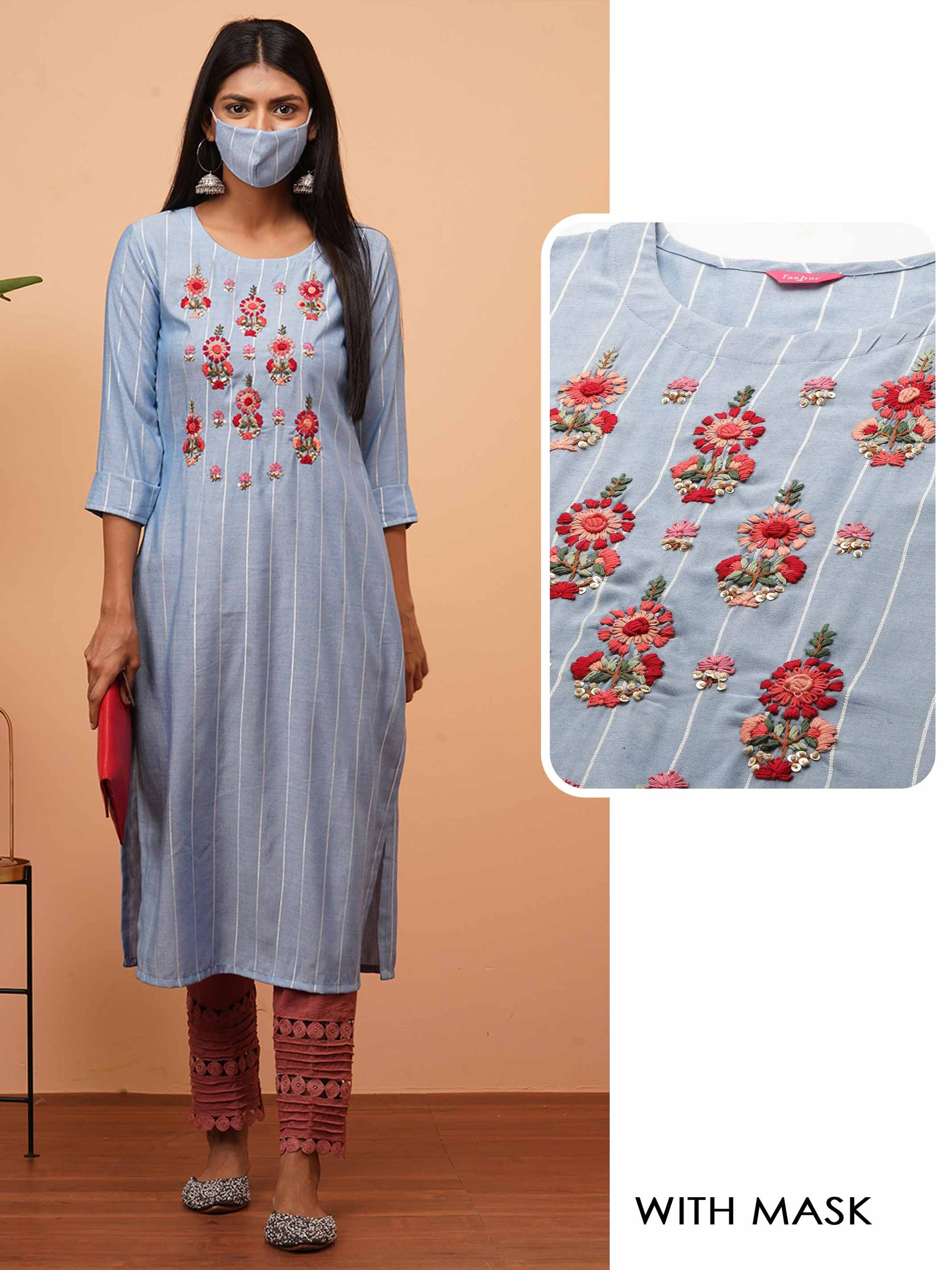 Floral Embroidered & Striped Straight Kurta with 2-Ply Mask - Powder Blue