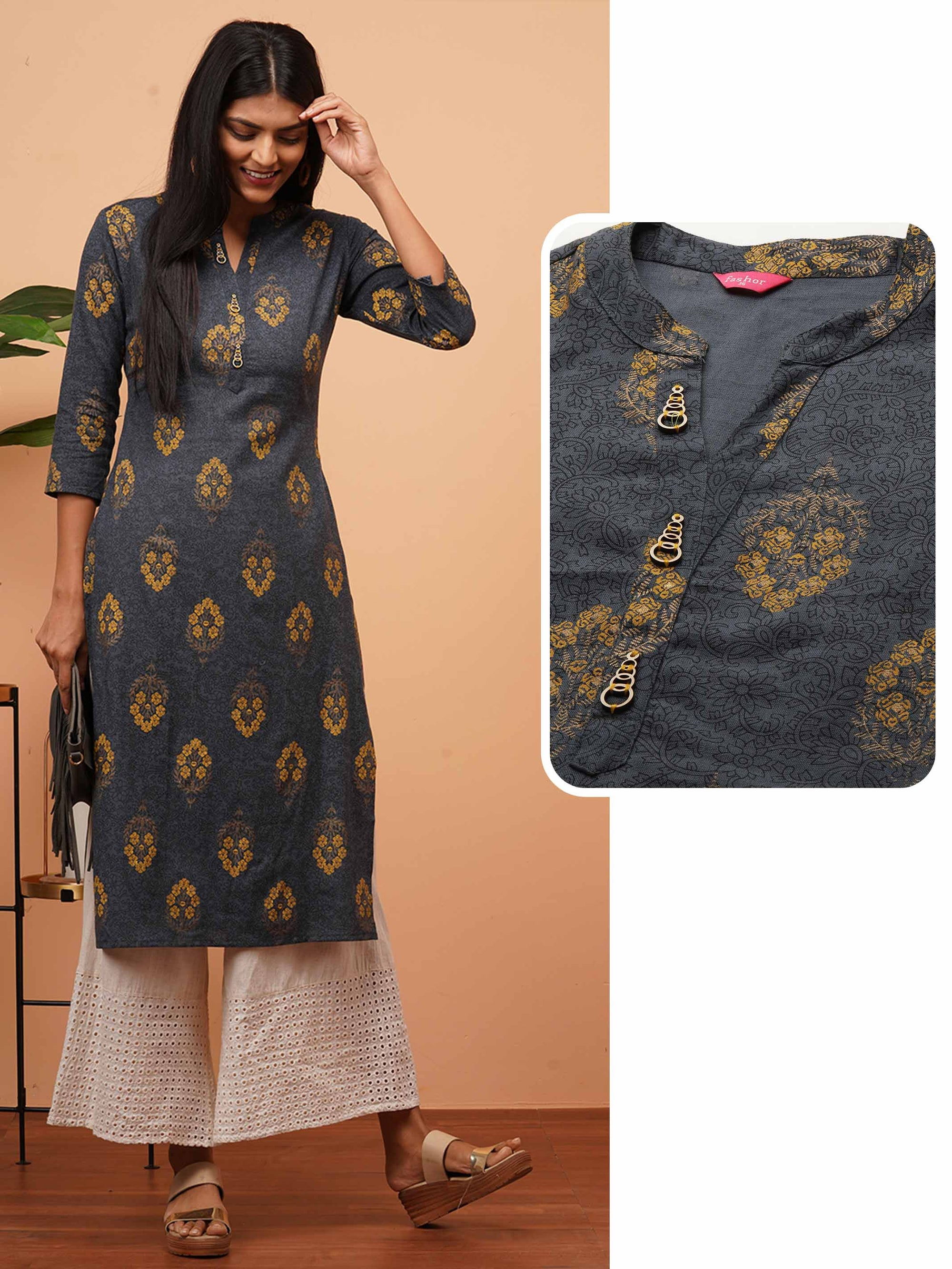Densely Hand Block Printed Straight Kurta - Grey