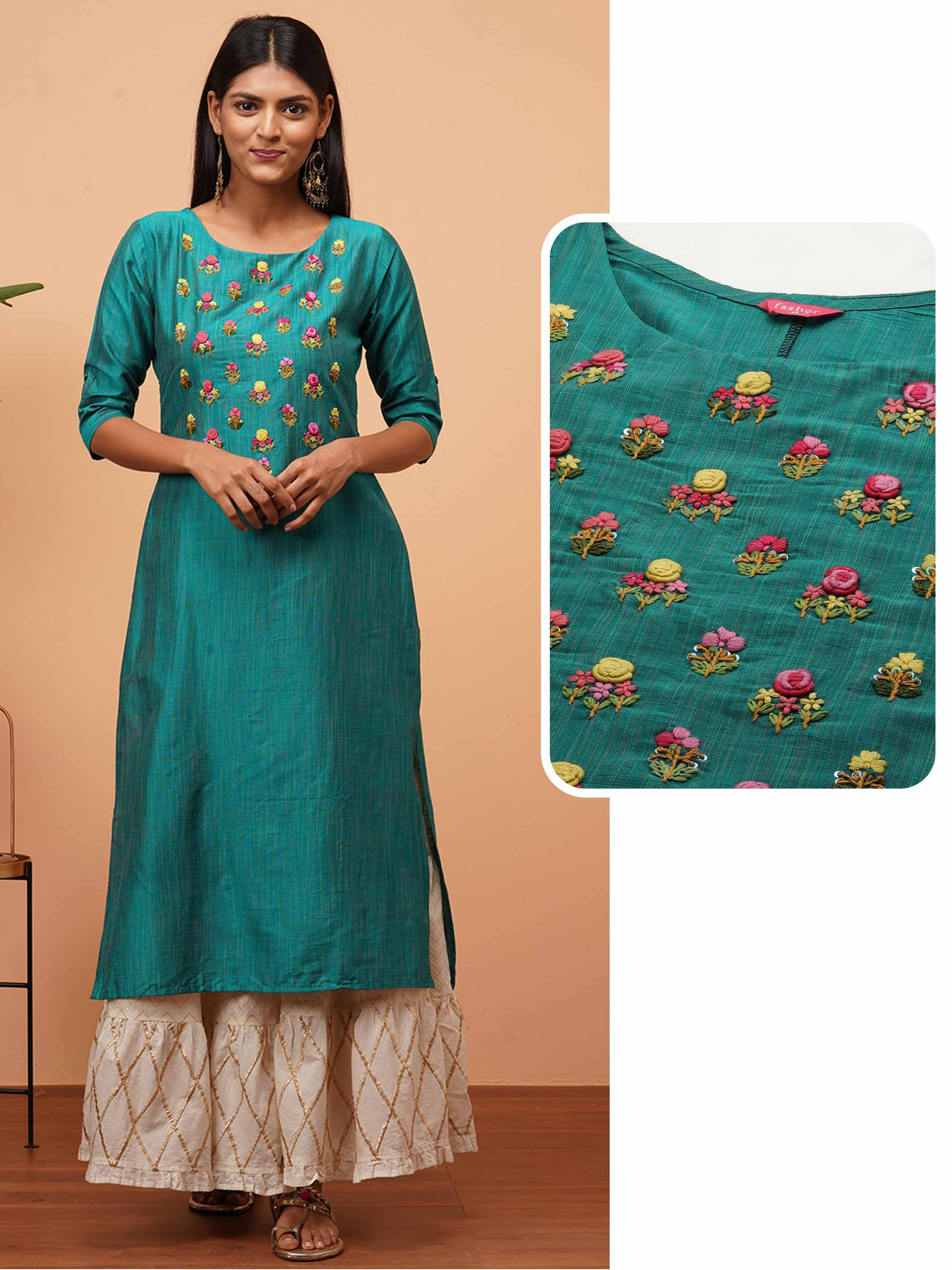 Floral Hand Embroidered & Textured Straight Kurta - Peacock Blue