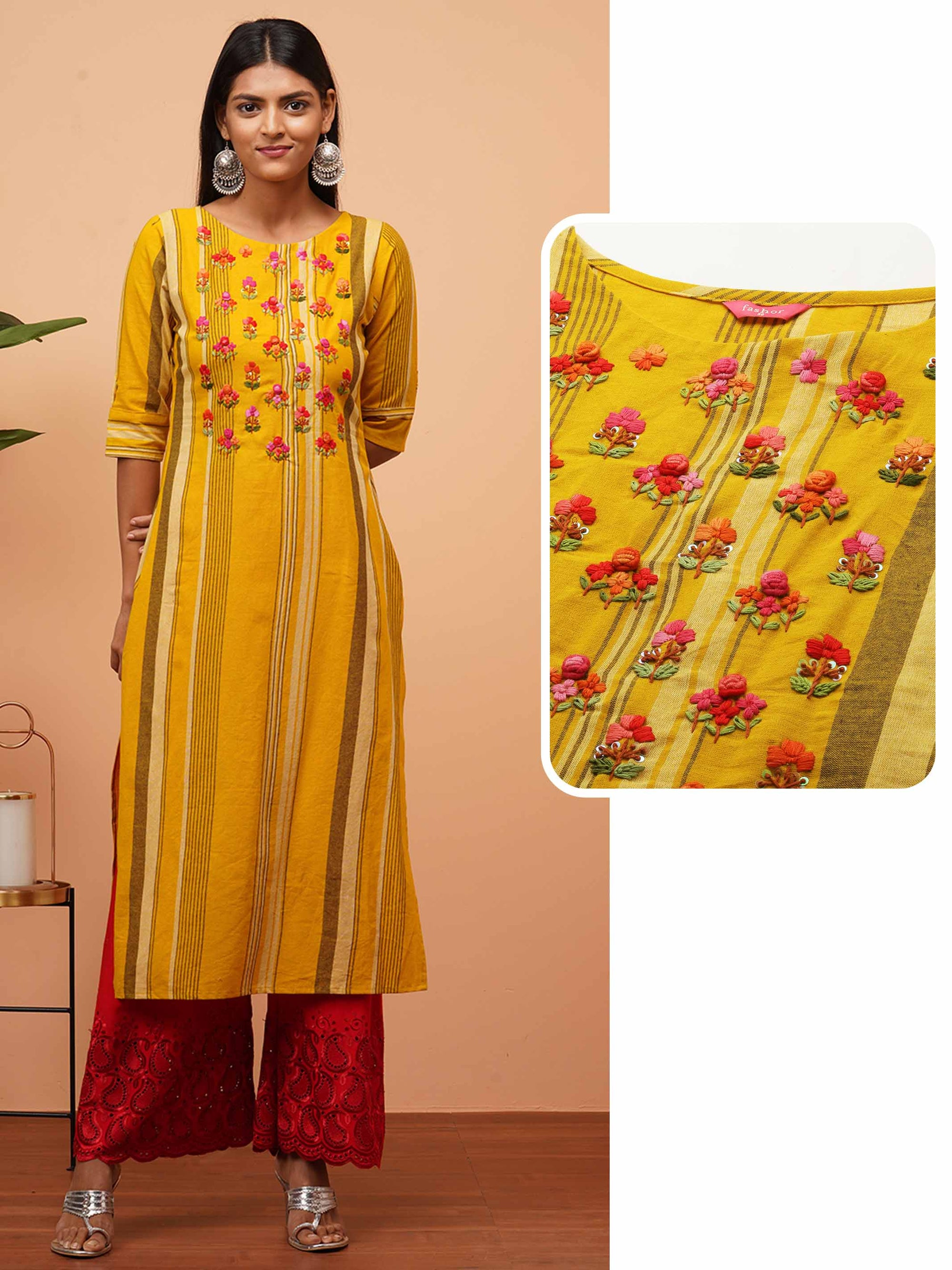 Floral Hand Embroidered & Striped Straight Kurta - Mustard