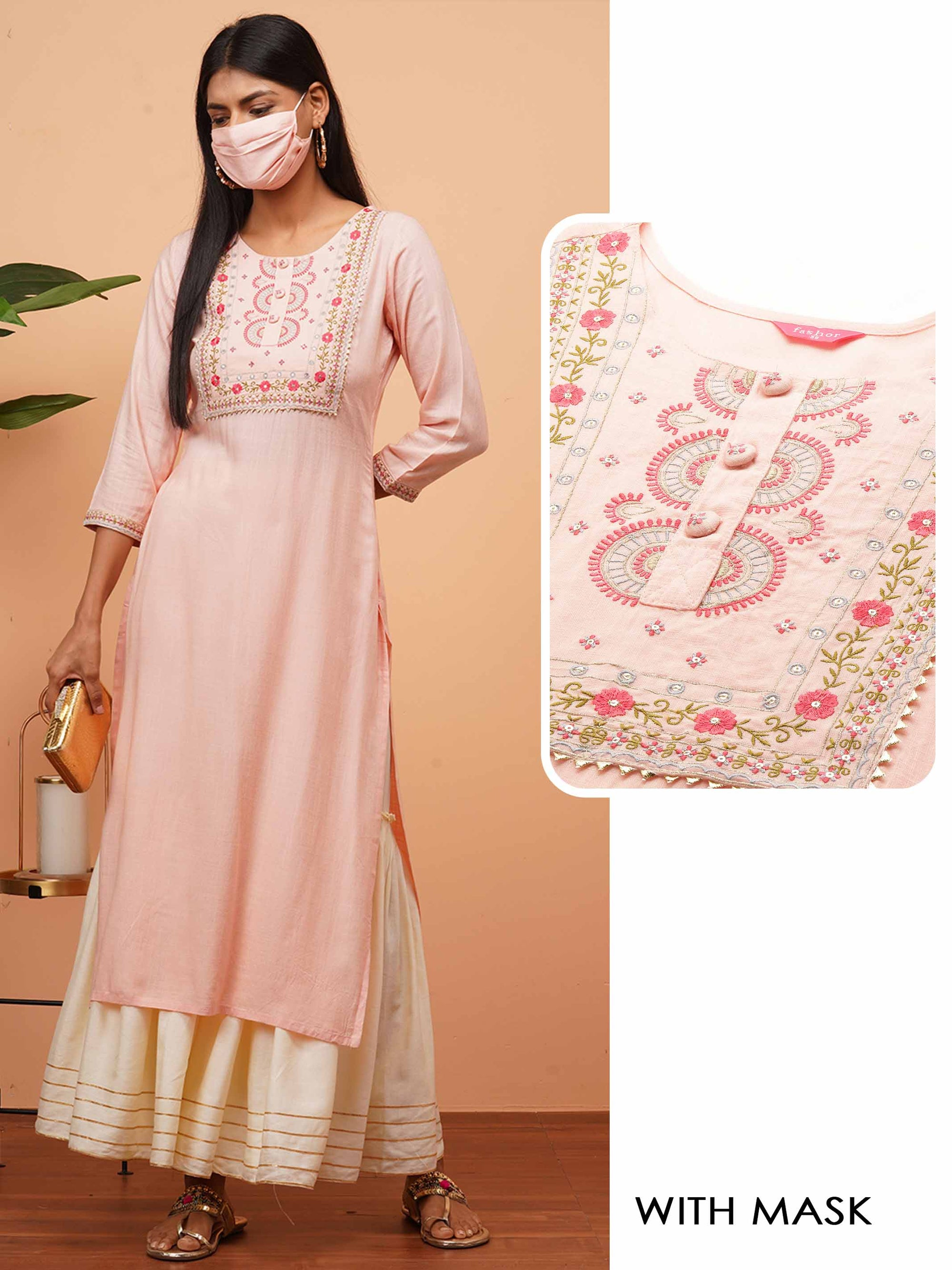 Chic Floral Mix Embroidered Straight Kurta with 2-Ply Mask - Peach