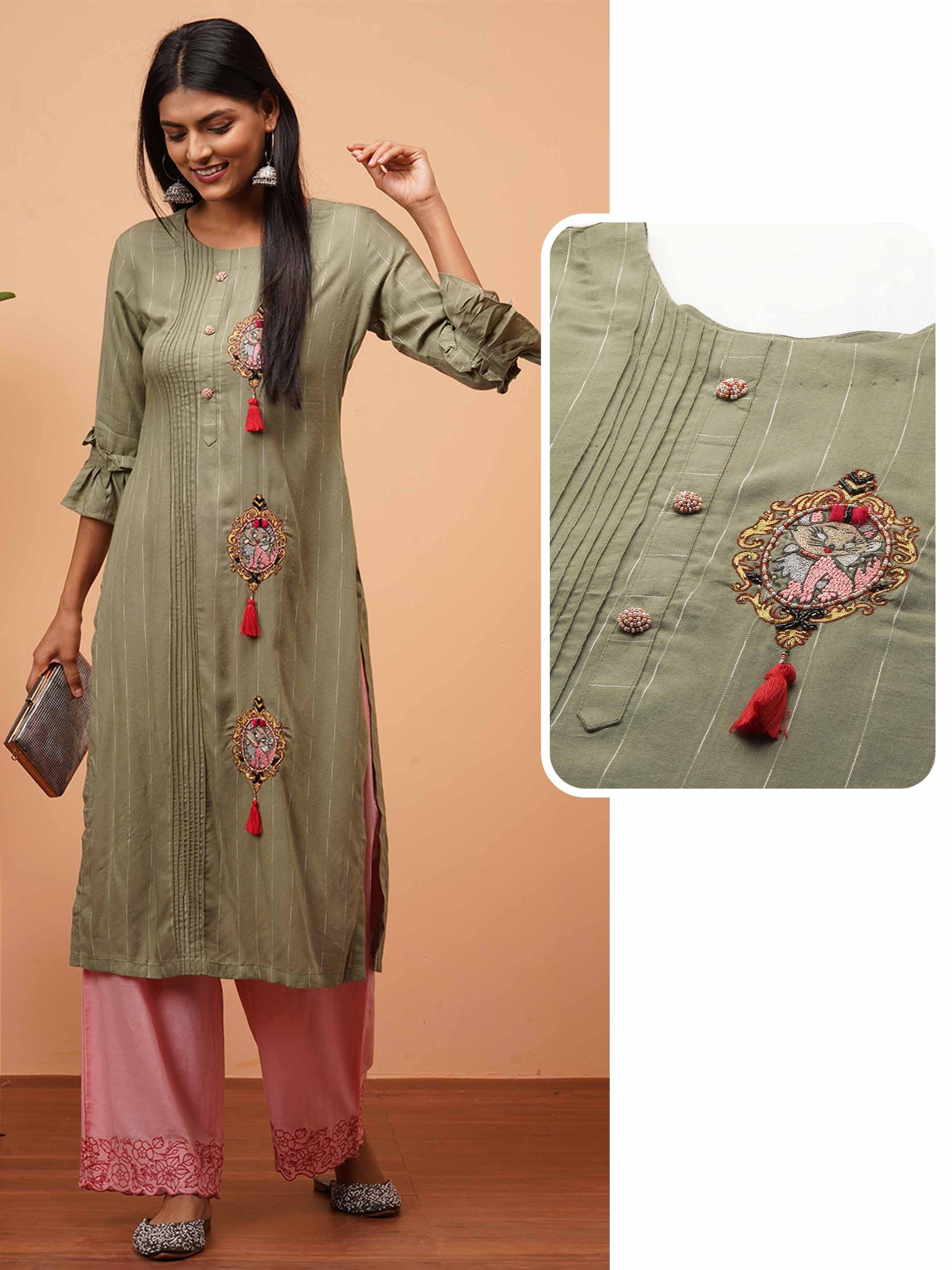 Hand Embroidered & Striped Straight Kurta - Olive Green