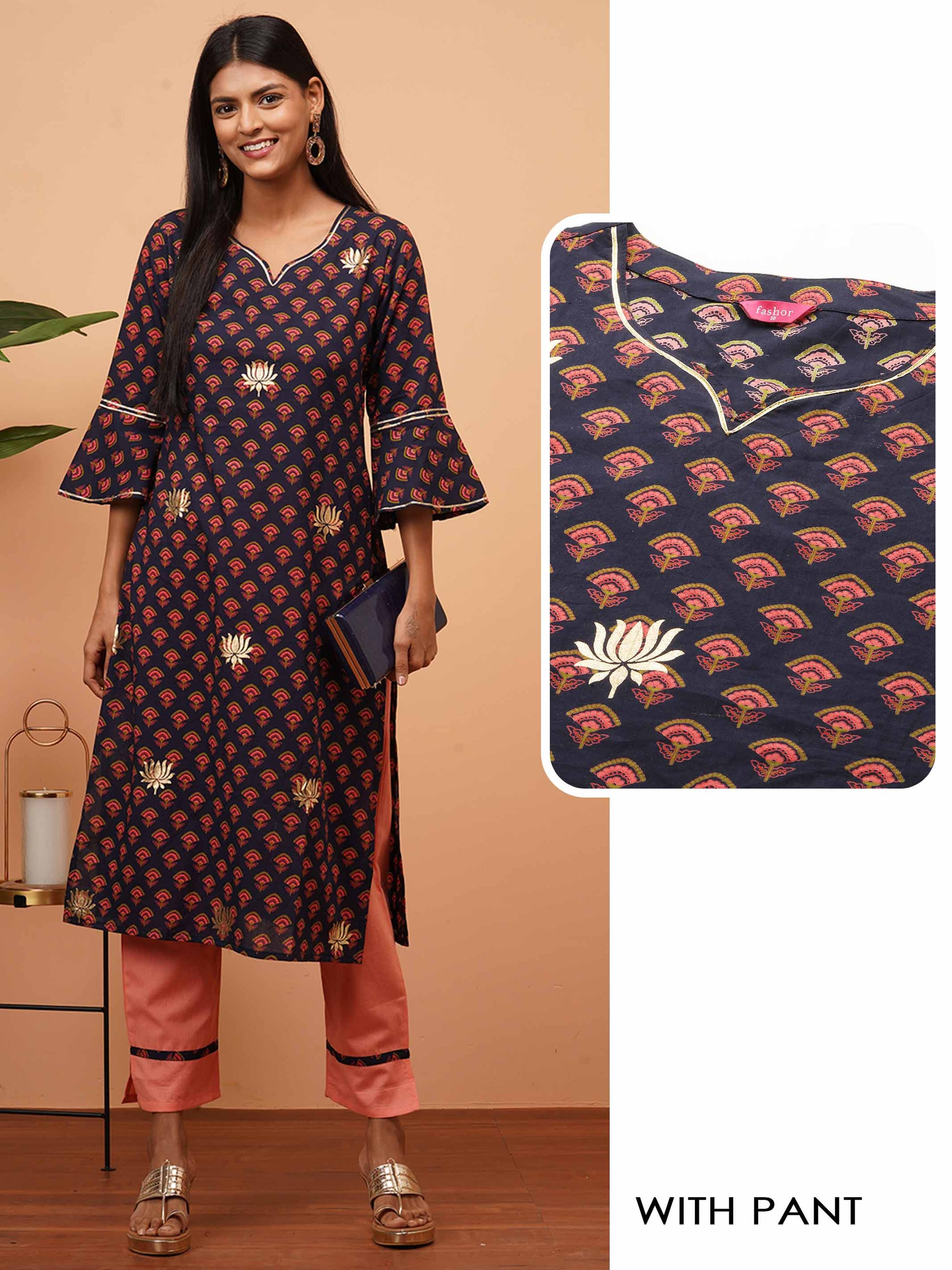 Ethnic Floral & Rogan Printed Kurta with Solid Pants - Blue