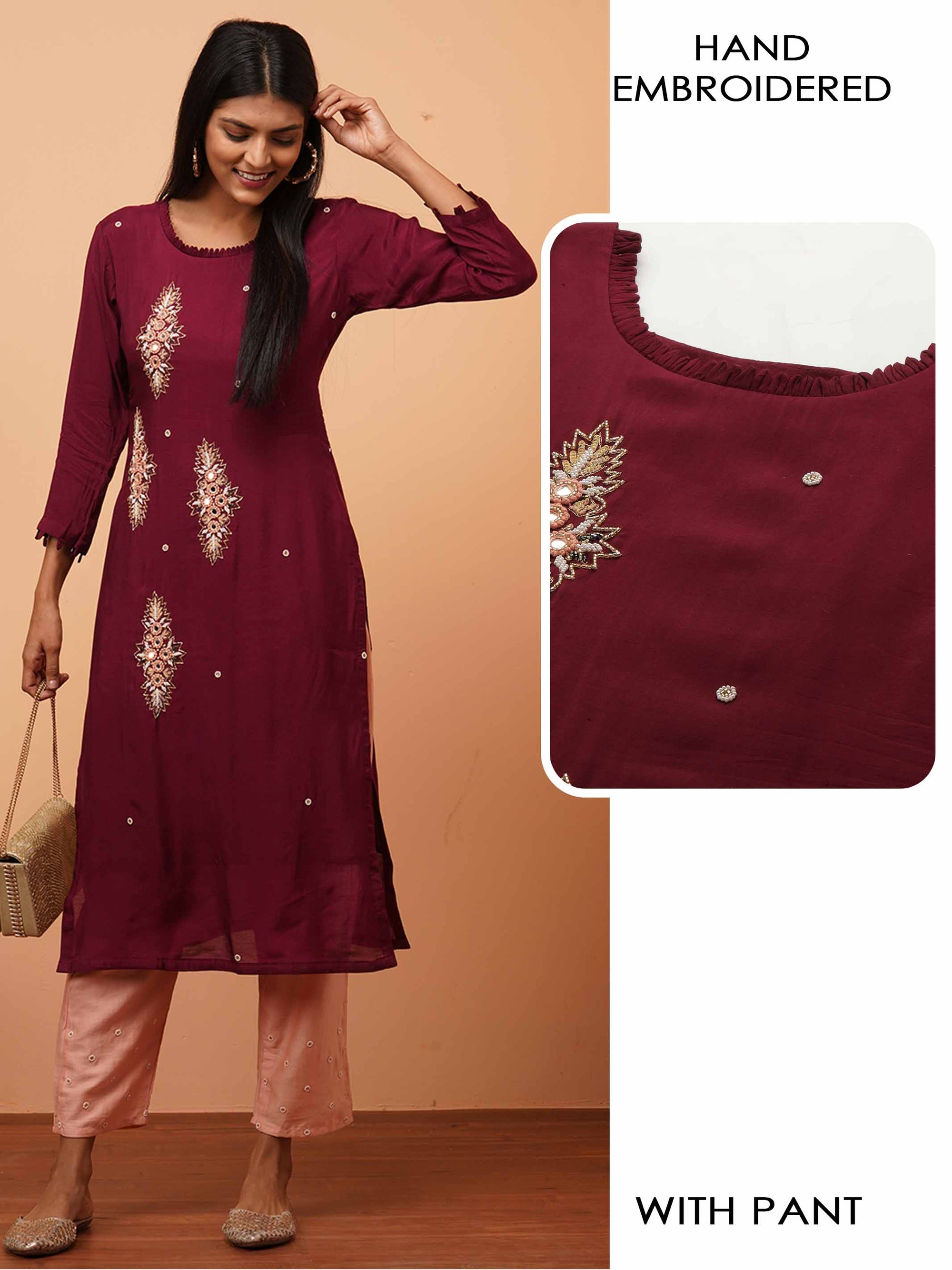 Hand Embroidered Festive Kurta with Contrast Hand Embroidered Pant - Burgundy