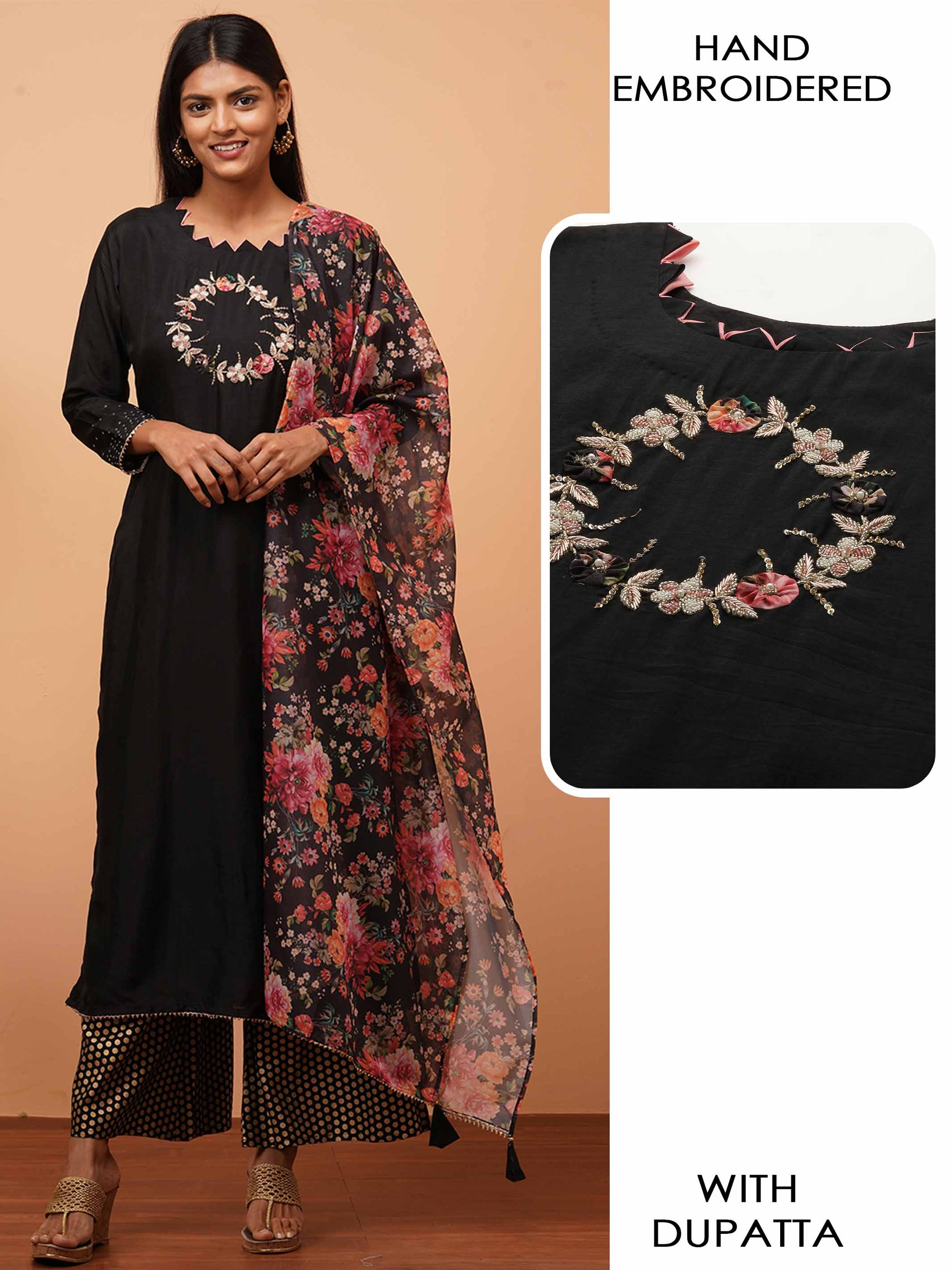 Floral Applique & Embellished Kurta with Dense Floral Printed Dupatta - Black