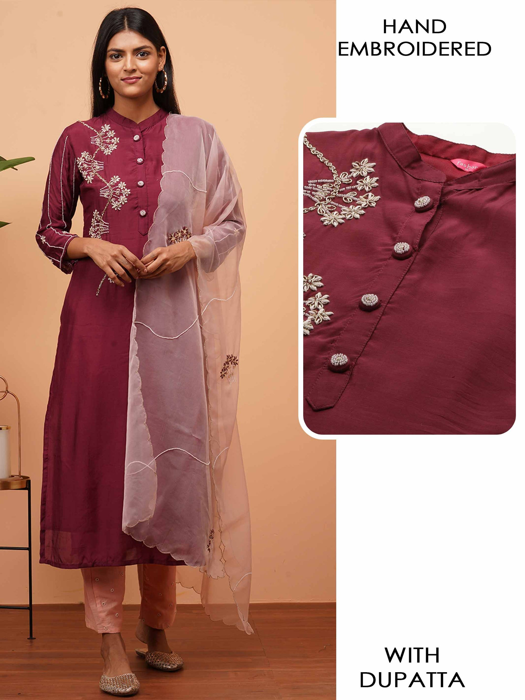 Heavy Floral Embroidered Kurta with Embroidered & Scallop Dupatta - Wine