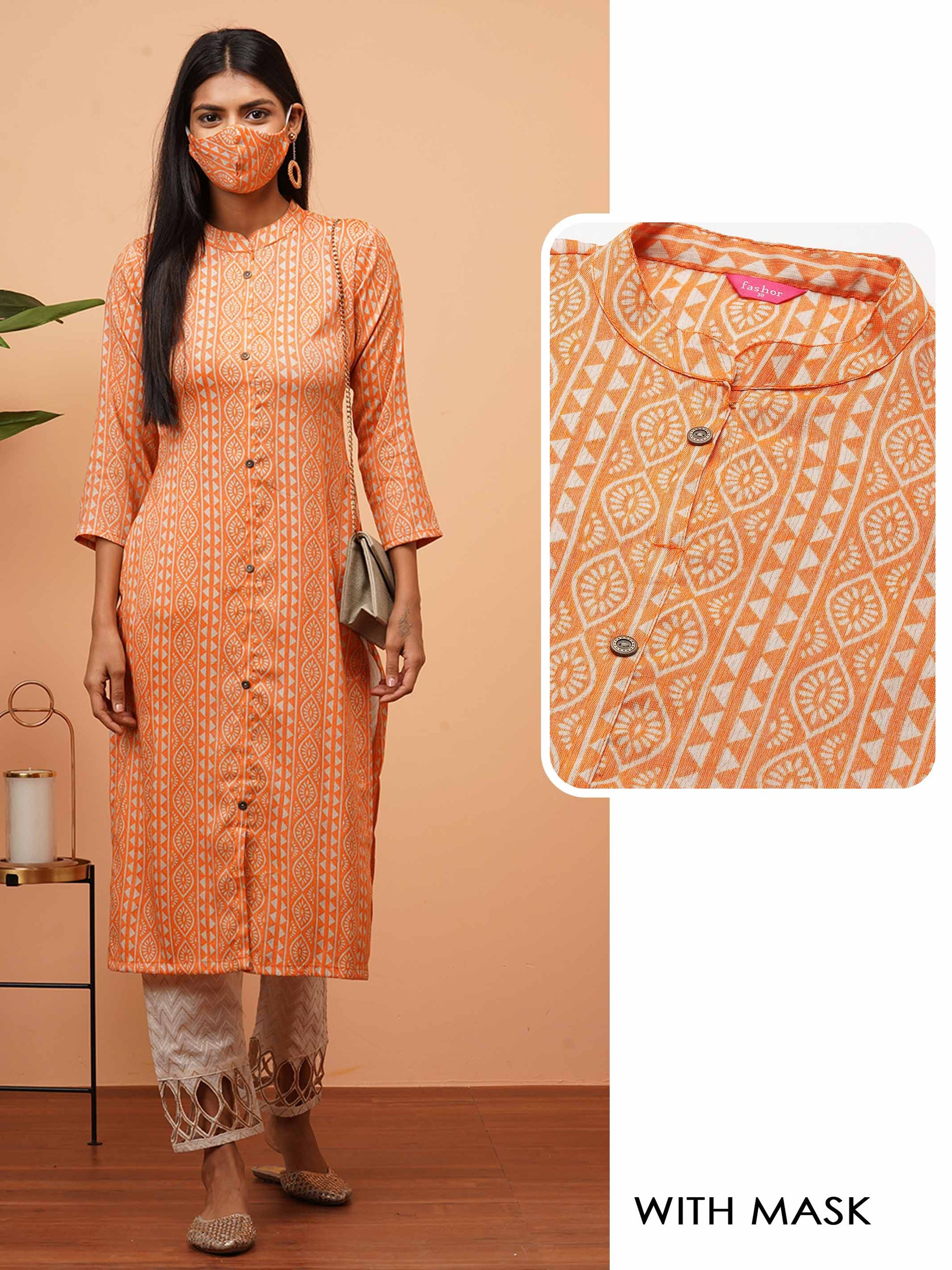 Ethnic Desne Printed Straight Kurta with 2-Ply Mask - Orange