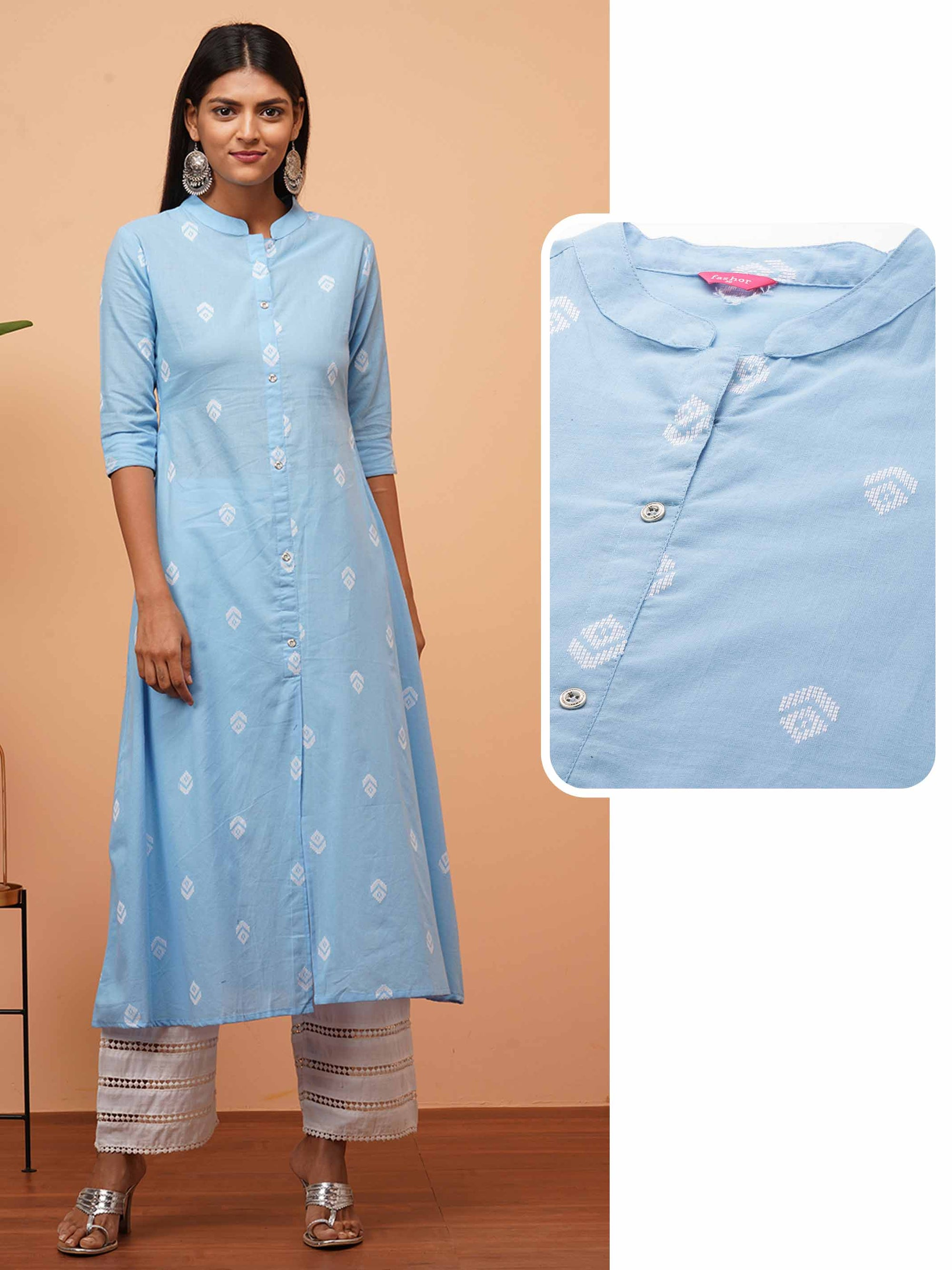 Ethnic Woven Design A-Line Kurta - Powder Blue