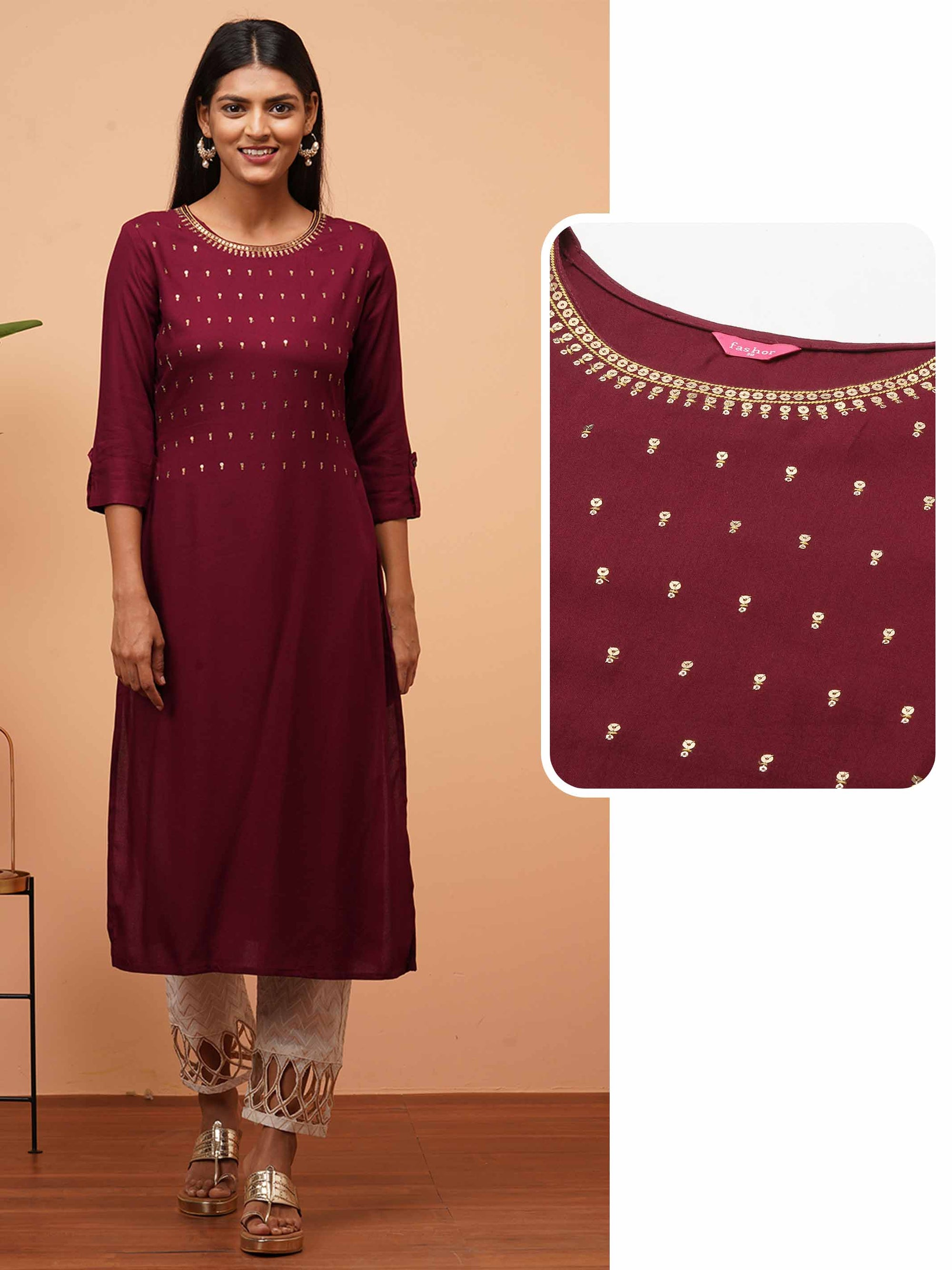 Ethnic Zari & Sequin Hand Embroidered Kurta - Burgundy